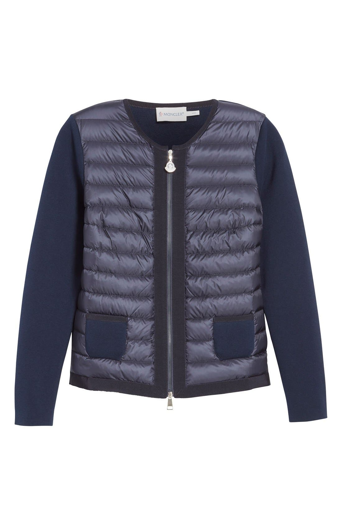 MONCLER,                             'Maglia' Quilted Down Front Tricot Cardigan,                             Alternate thumbnail 5, color,                             419