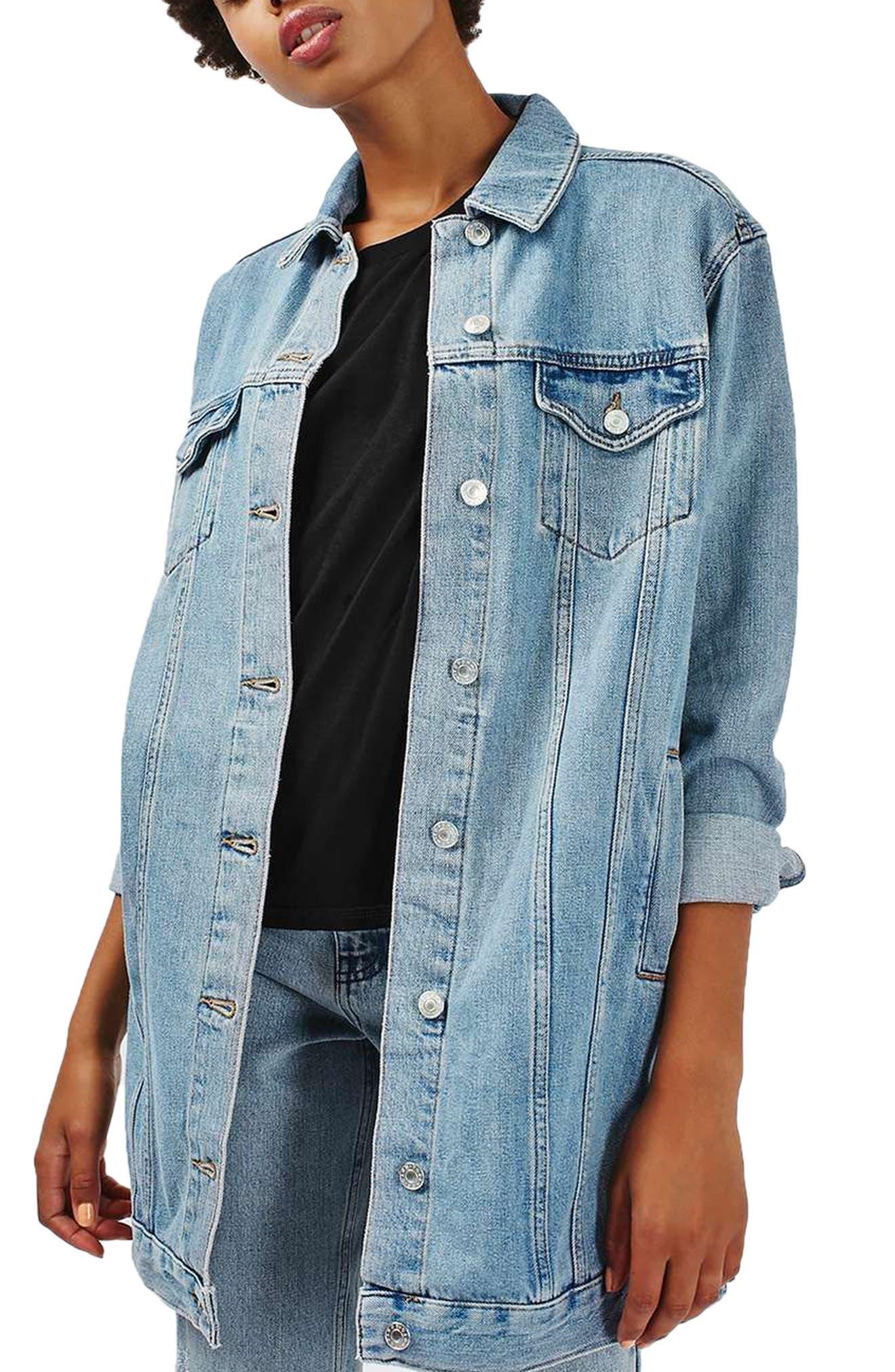 Longline Denim Jacket, Main, color, 400