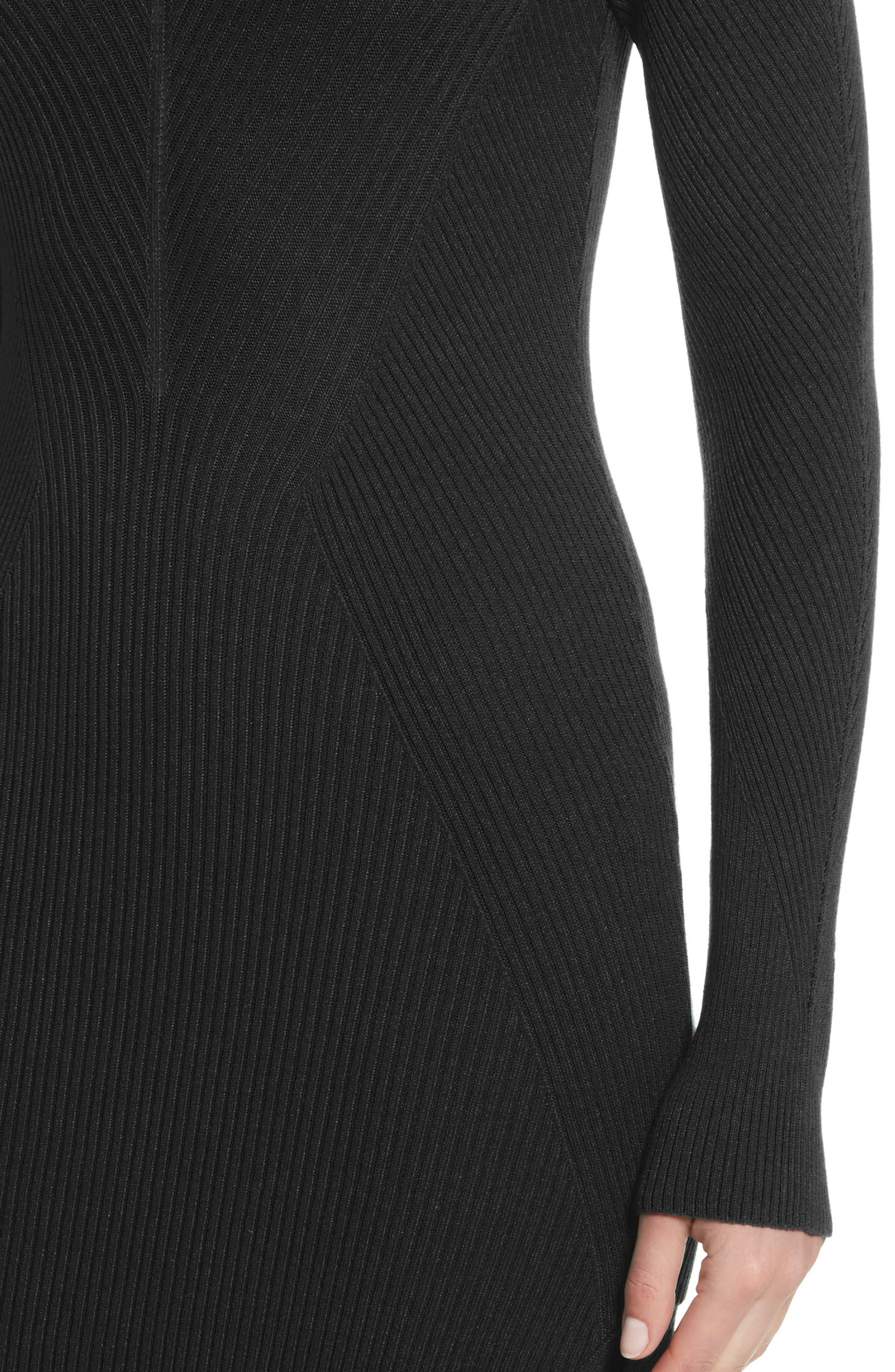 Collection Knit Keyhole Turtleneck Dress,                             Alternate thumbnail 4, color,                             001