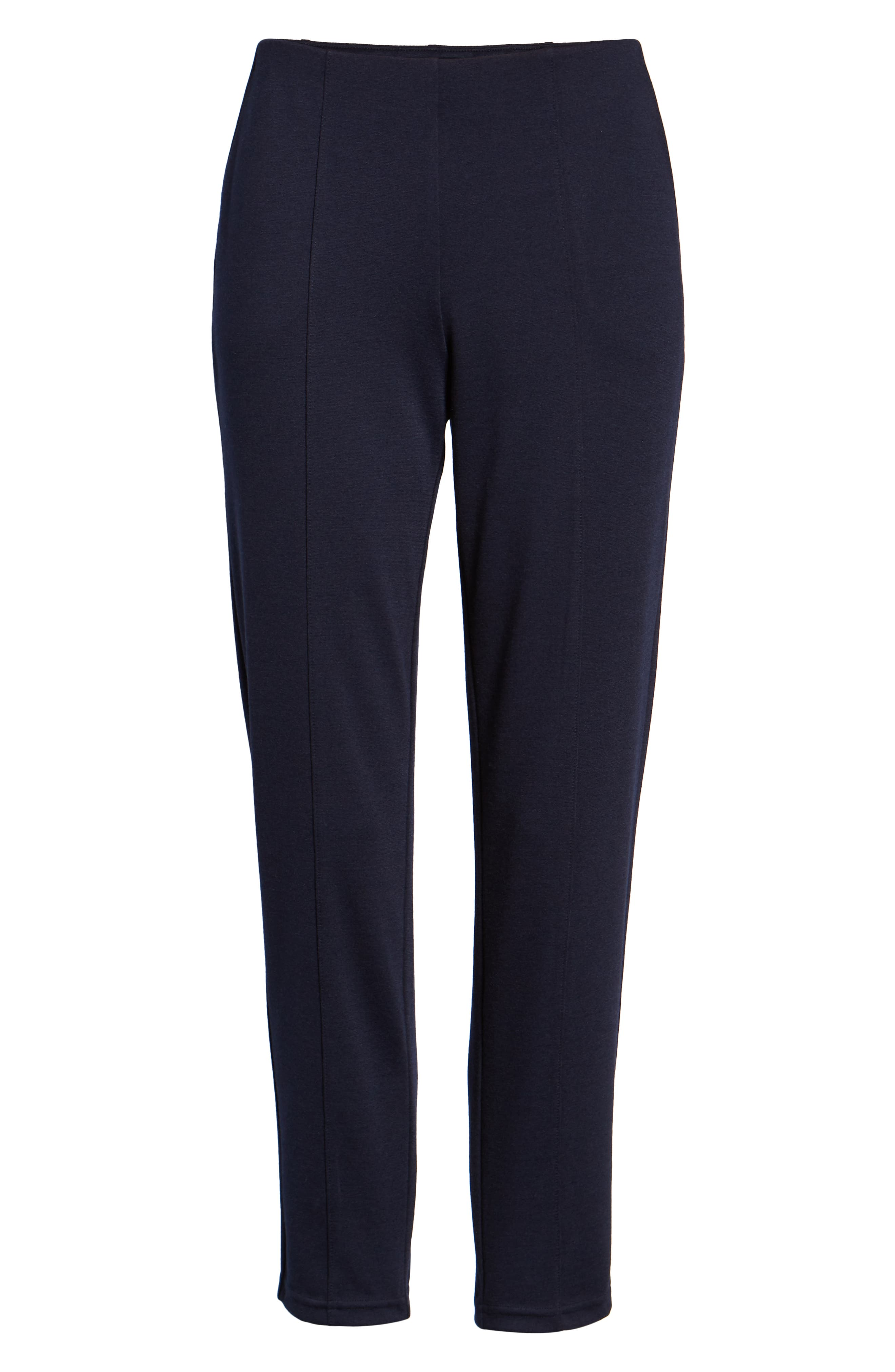 Luxe Seamed Ponte Skimmer Leggings,                             Alternate thumbnail 6, color,                             NAVY