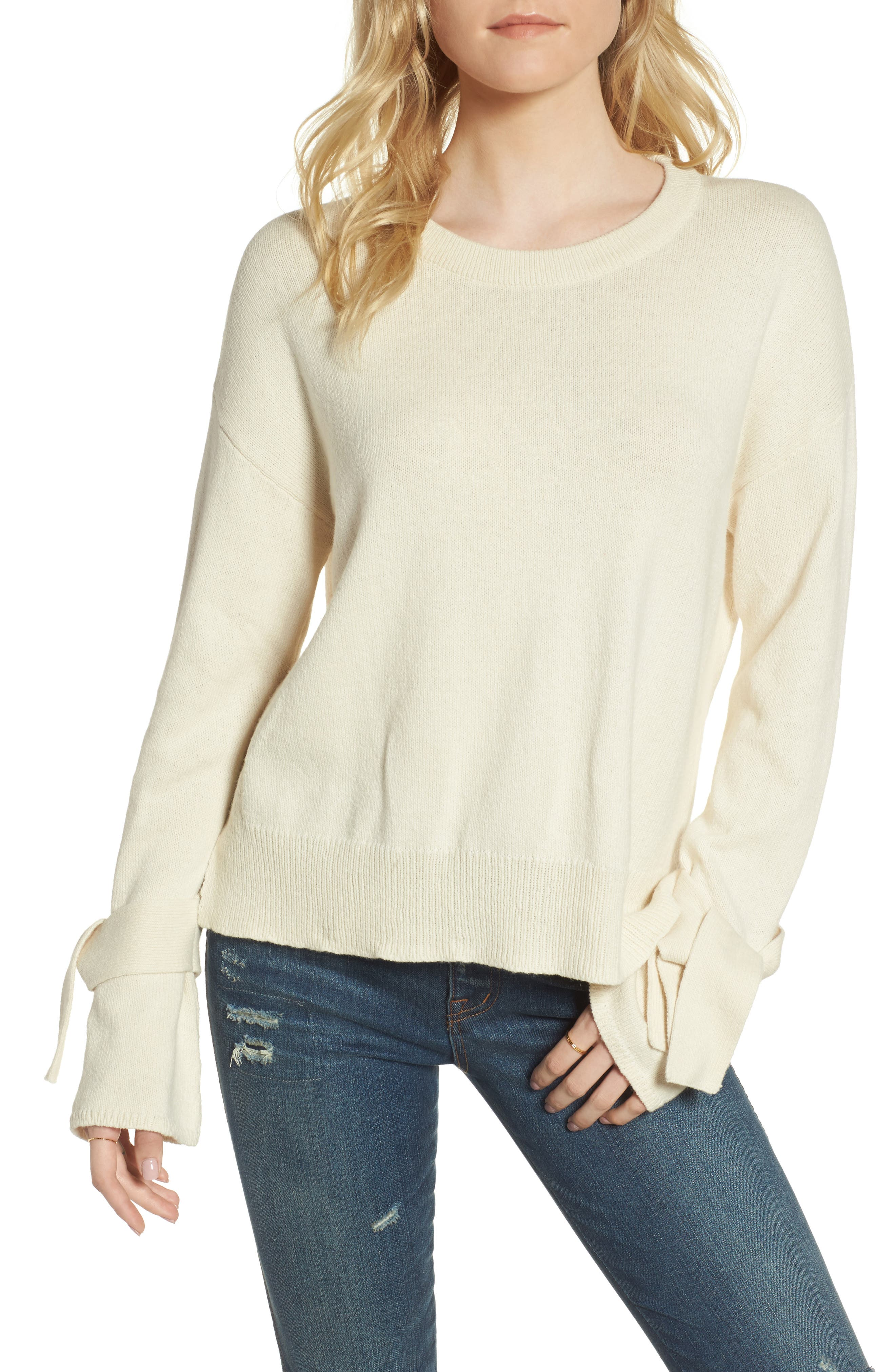 Tie Cuff Pullover Sweater,                             Main thumbnail 4, color,