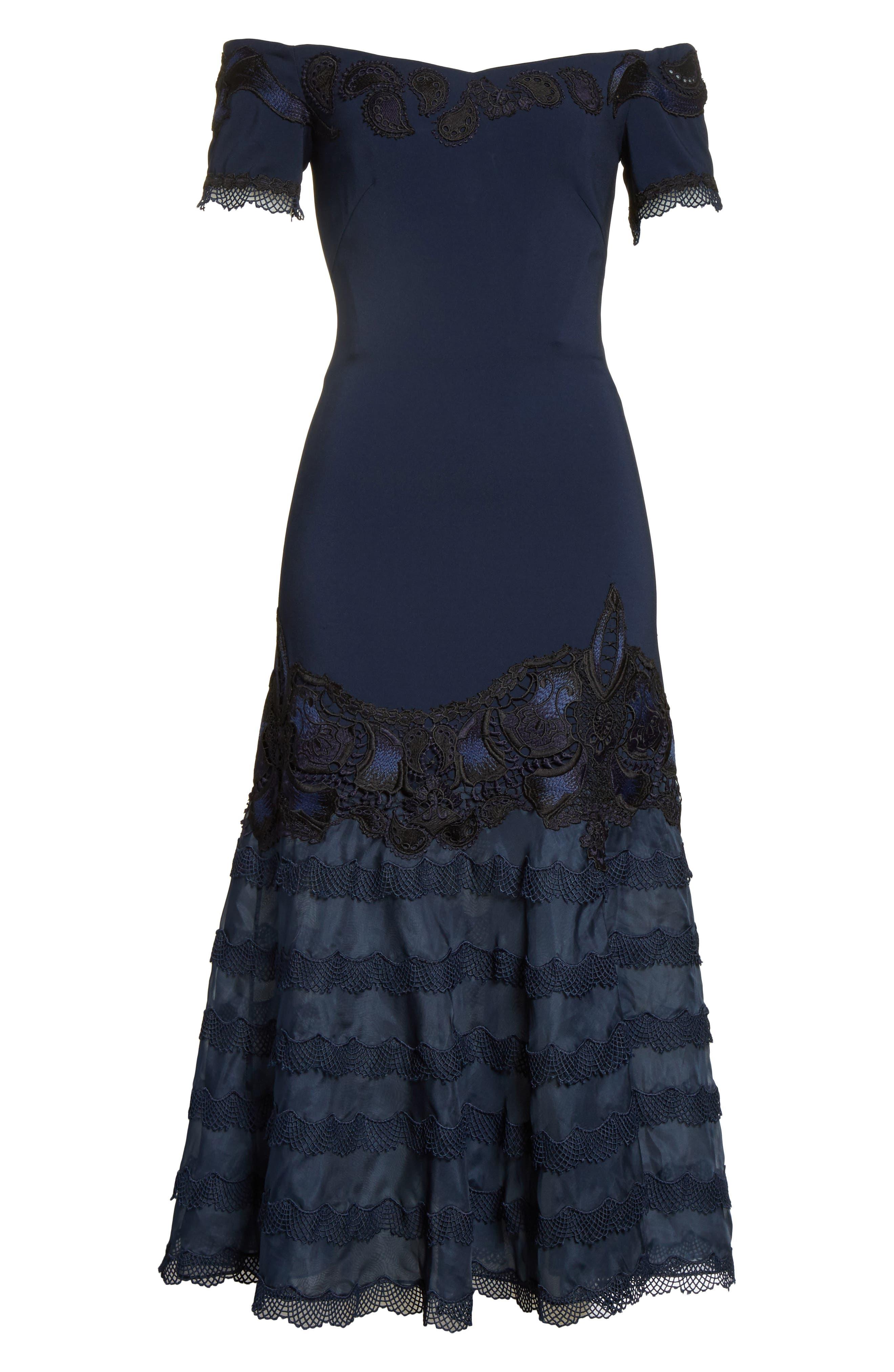 Lace Appliqué Crepe Off the Shoulder Trumpet Dress,                             Alternate thumbnail 6, color,                             493