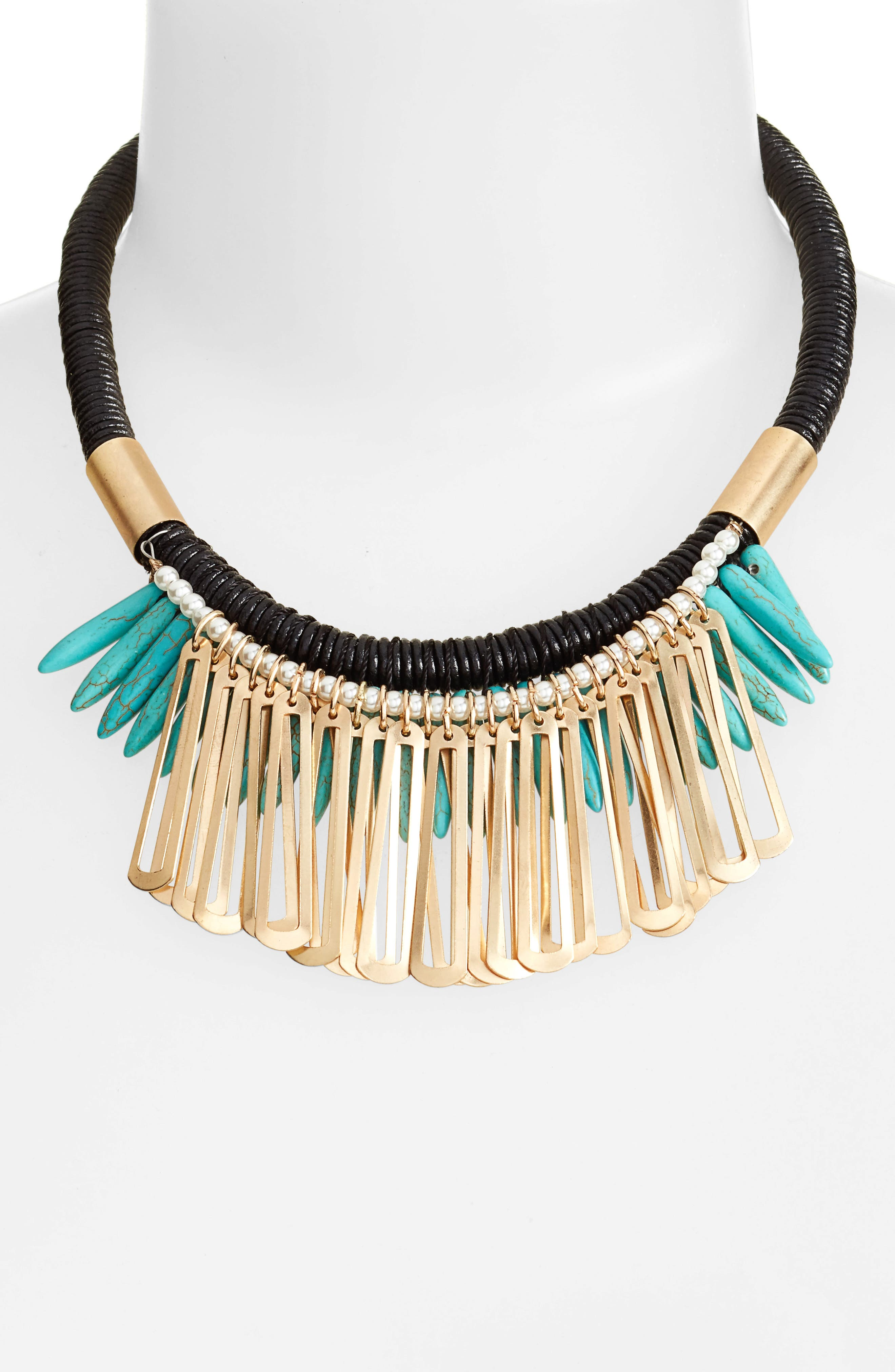 Spike Stone Statement Bib Necklace,                             Alternate thumbnail 2, color,                             TURQUOISE
