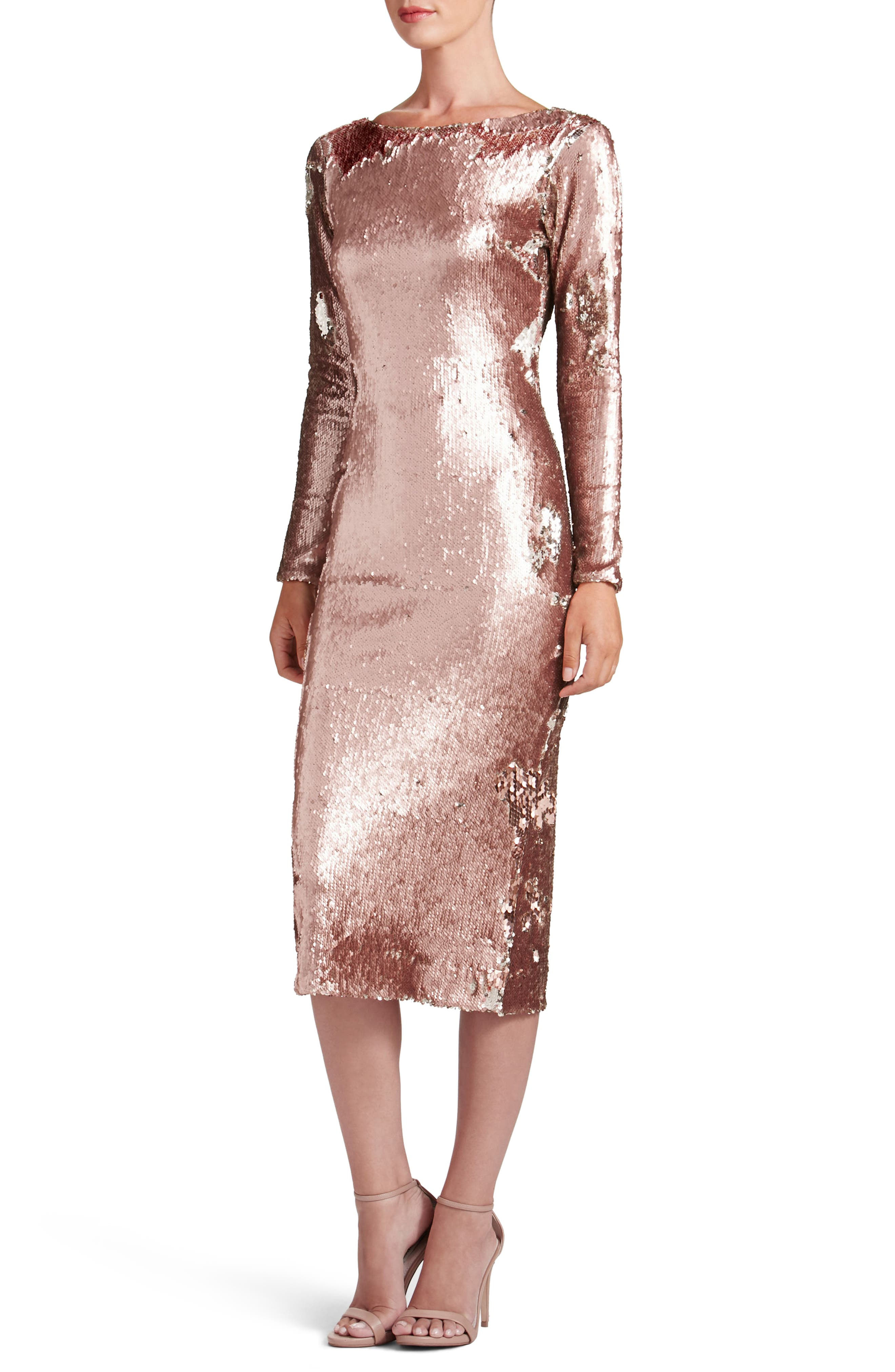 Emery Scoop Back Reversible Sequin Body-Con Dress,                             Main thumbnail 2, color,