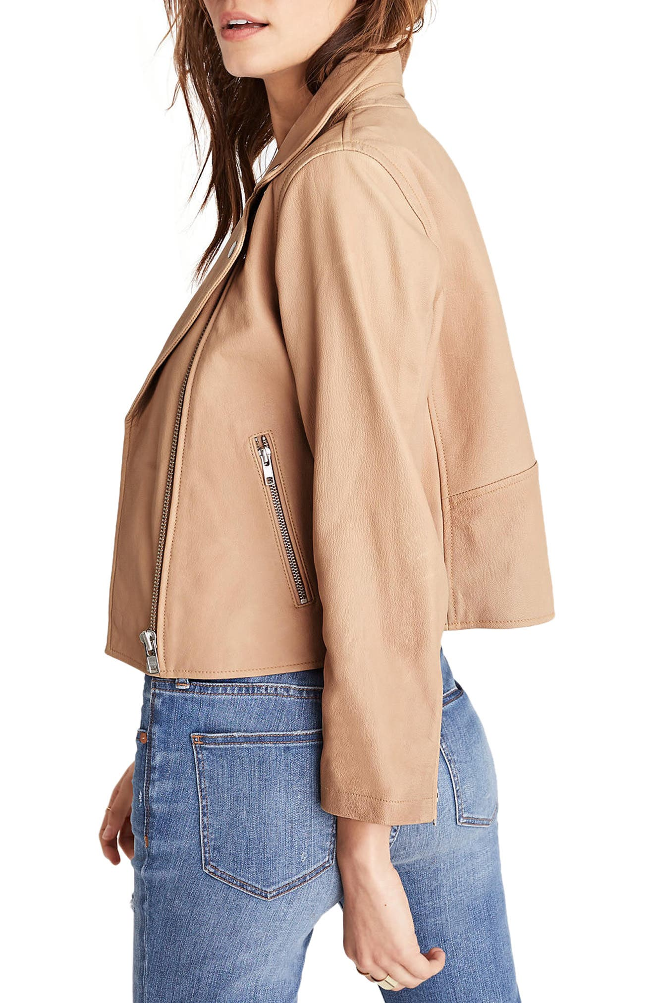 Crop Leather Moto Jacket,                             Alternate thumbnail 2, color,                             250