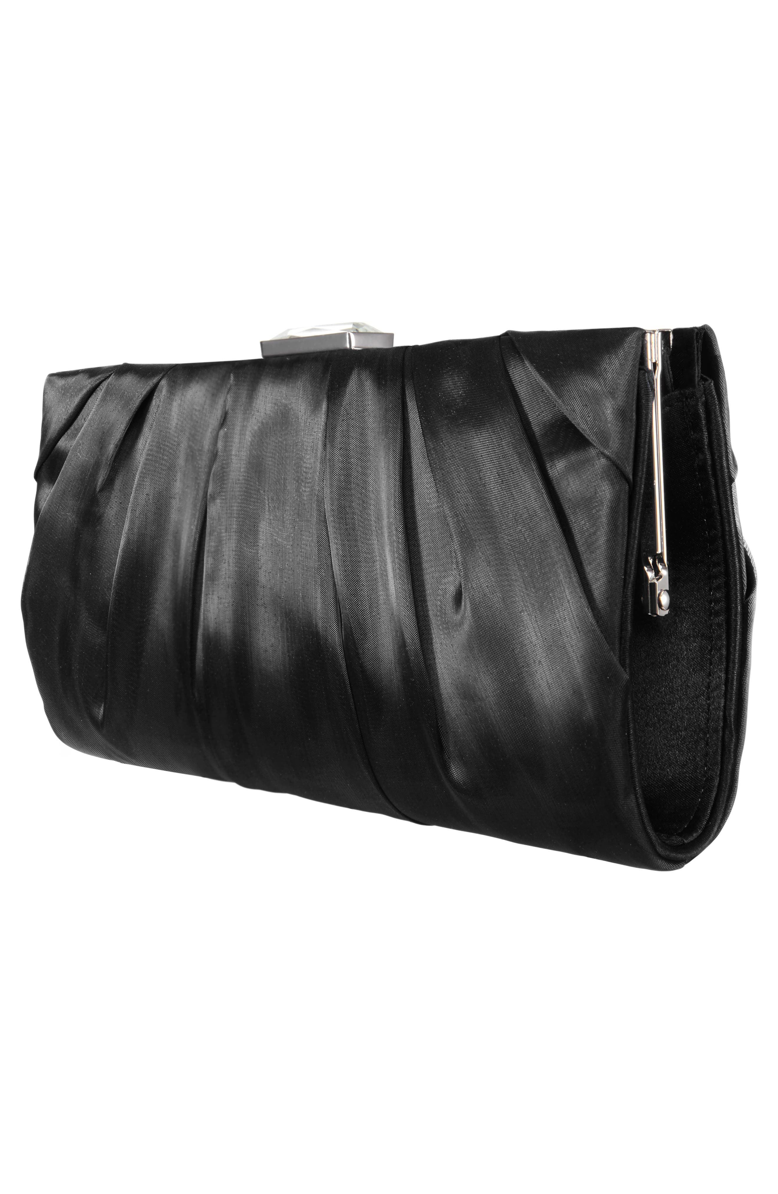 Crystal Clasp Pleated Clutch,                             Alternate thumbnail 4, color,                             BLACK