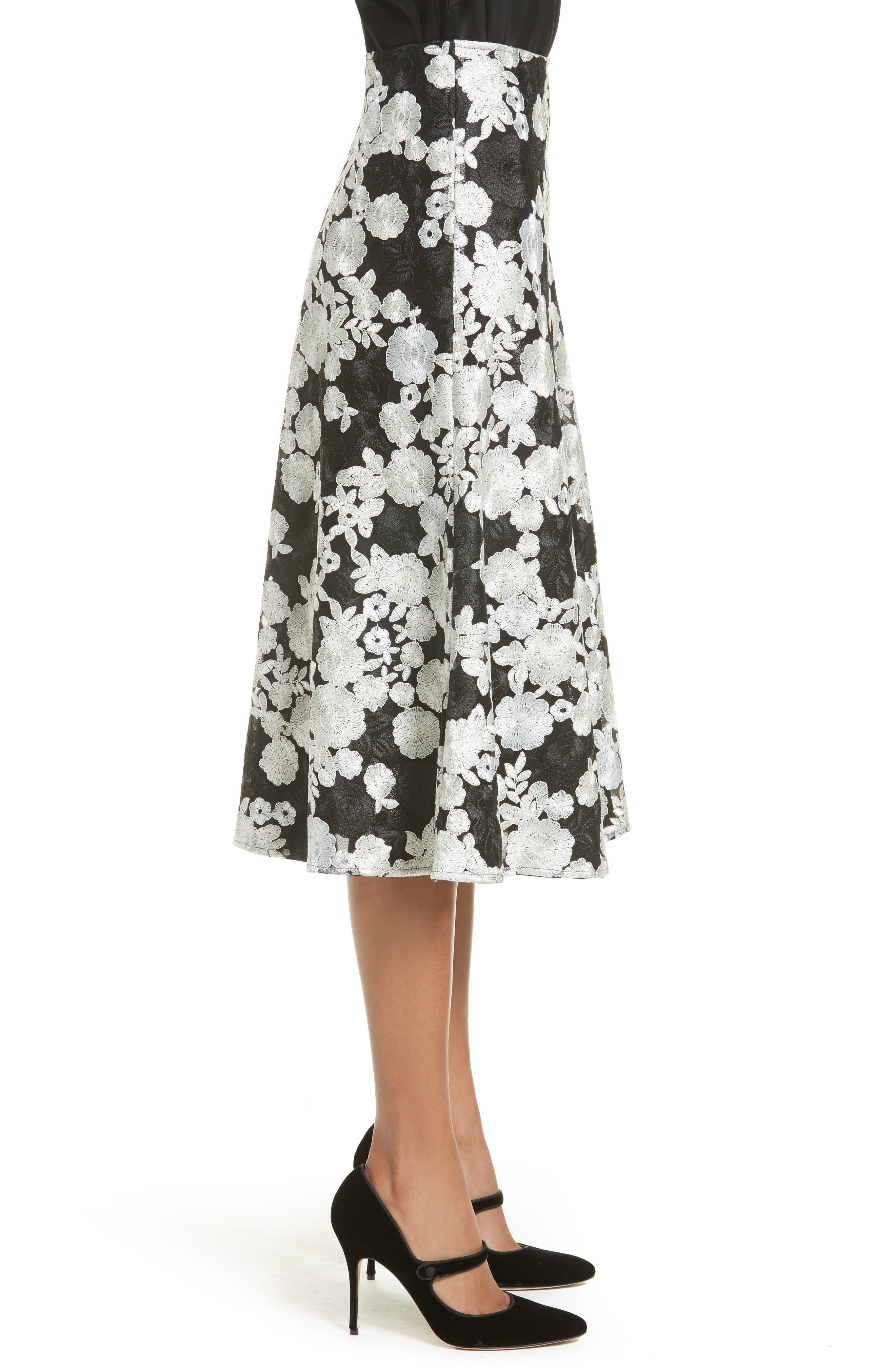 St. John Floral Embroidered Flared Skirt,                             Alternate thumbnail 3, color,                             001