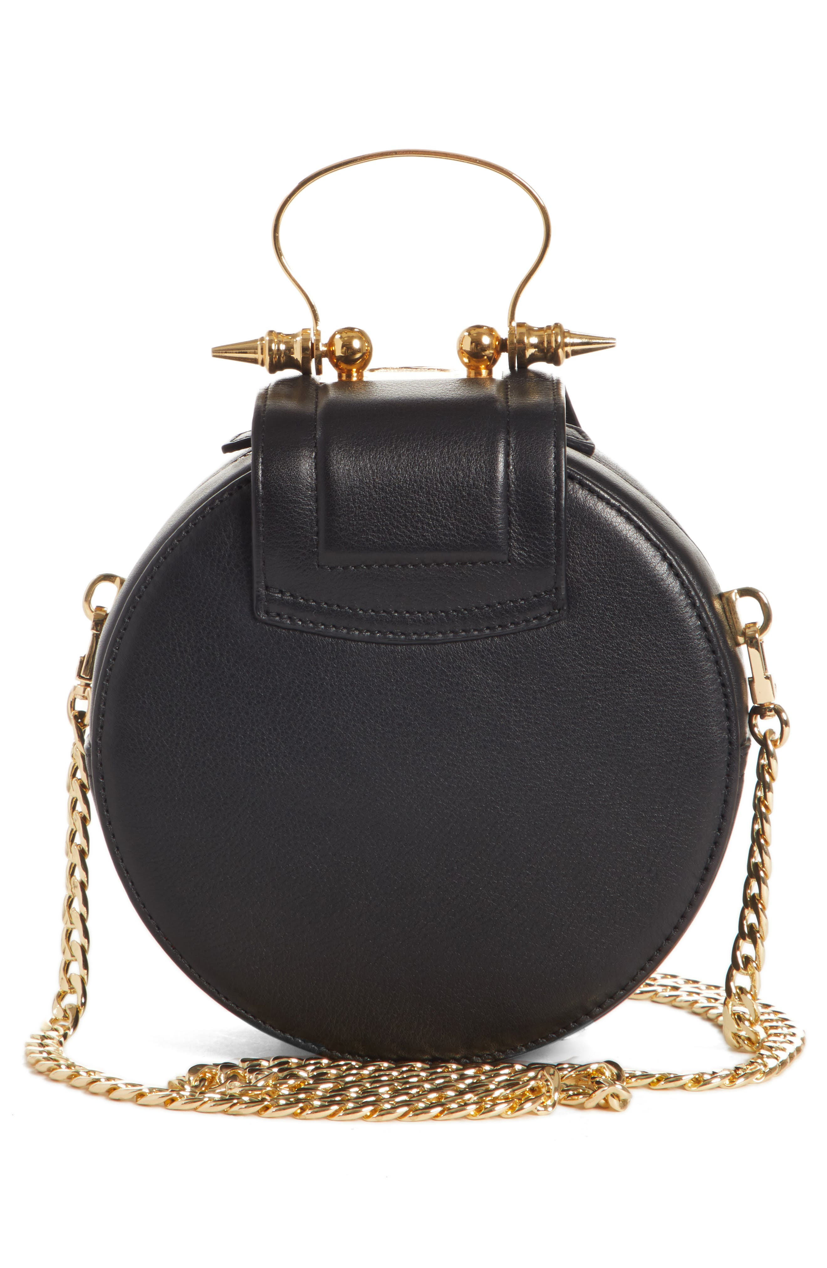 Mini Dome Crossbody Clutch,                             Alternate thumbnail 3, color,                             BLACK X GOLD