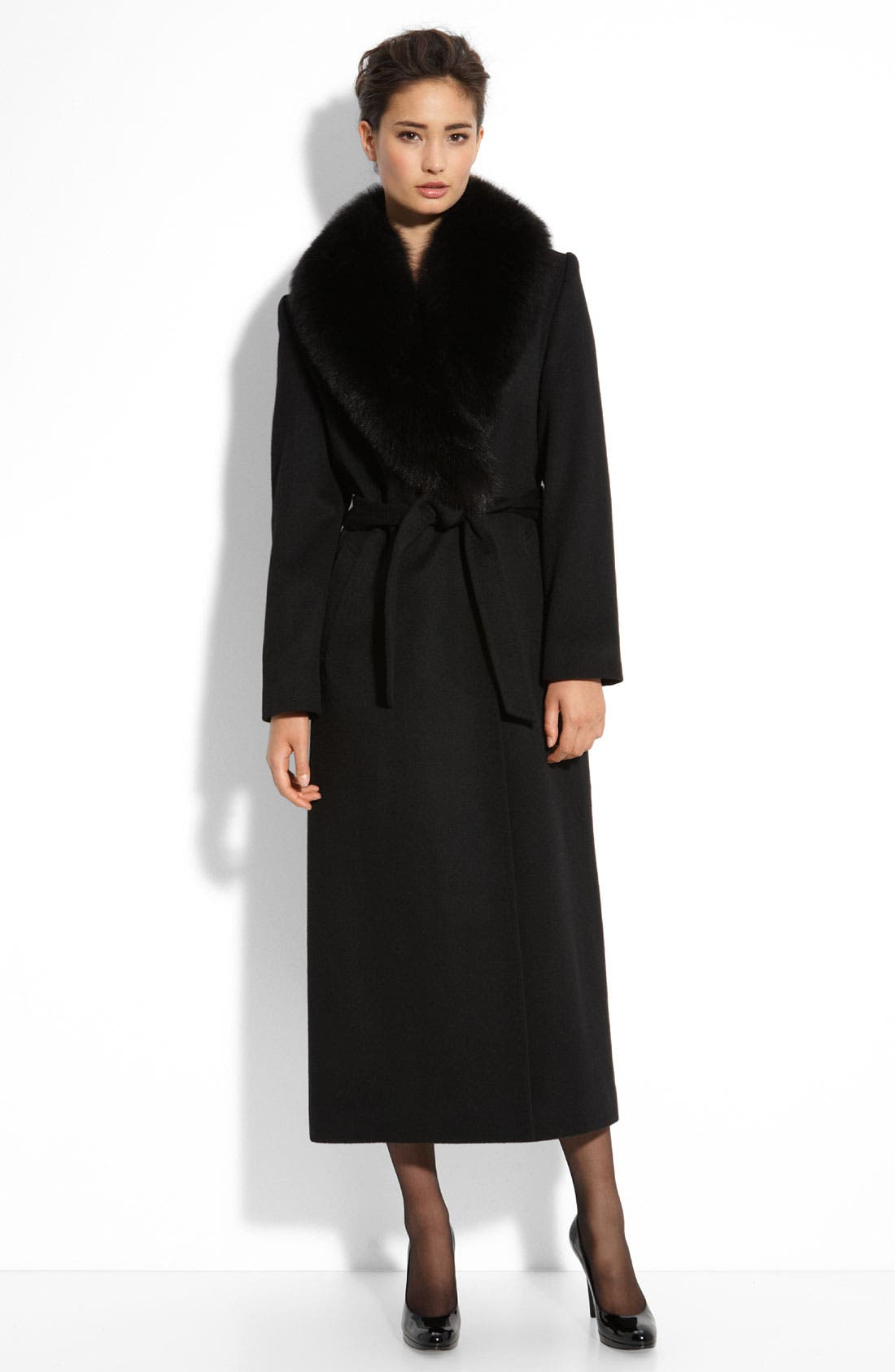 Cashmere & Wool Coat with Fox Fur, Main, color, 001