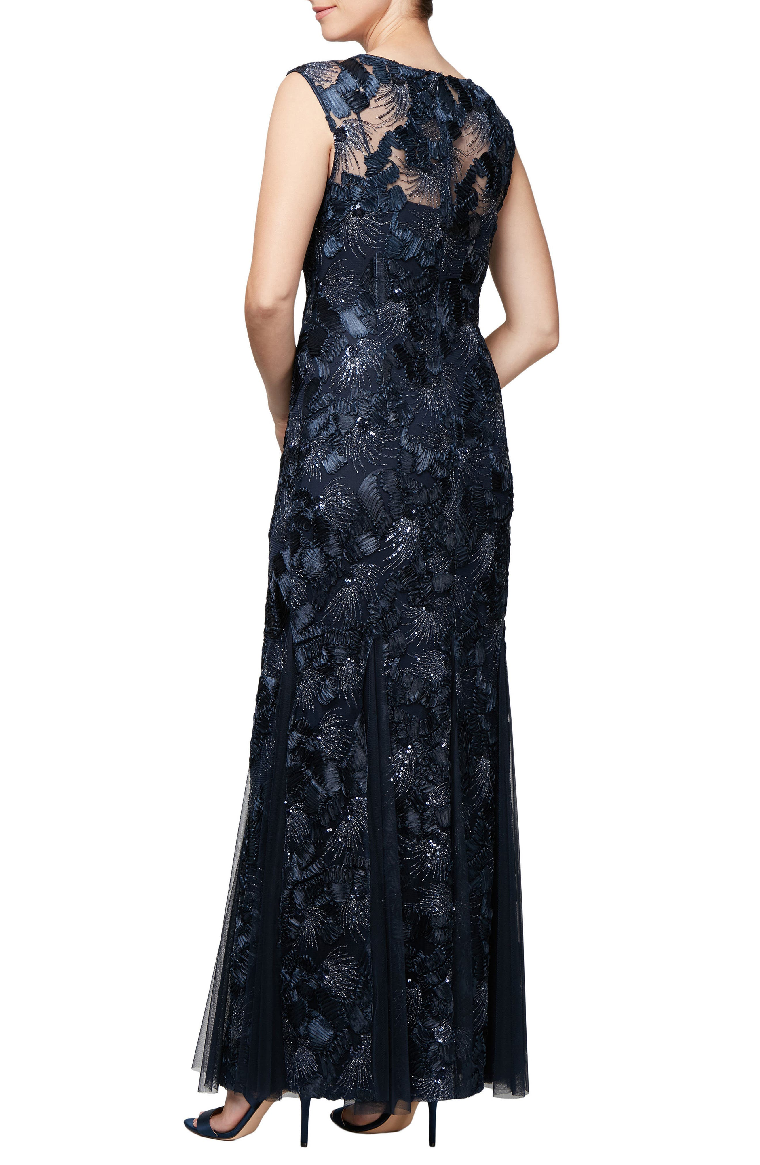 Soutache & Sequin Gown,                             Alternate thumbnail 2, color,                             410