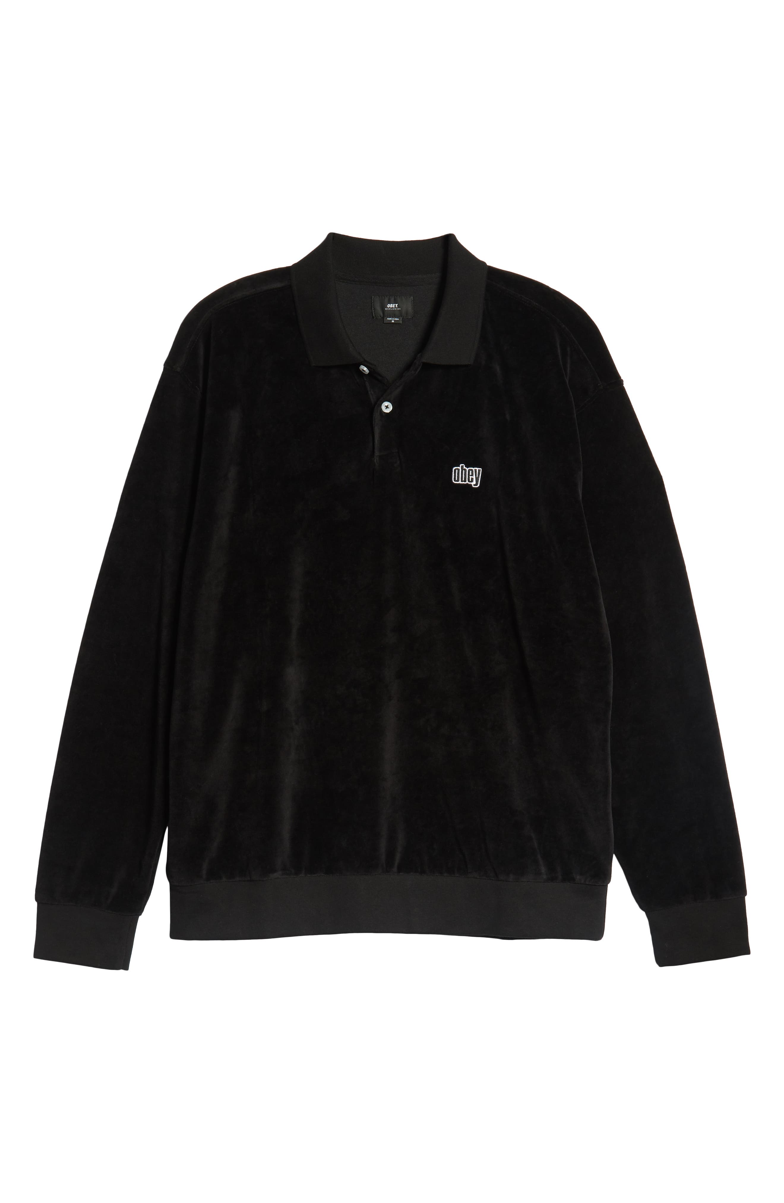 Saucer Long Sleeve Velour Polo,                             Alternate thumbnail 6, color,                             BLACK