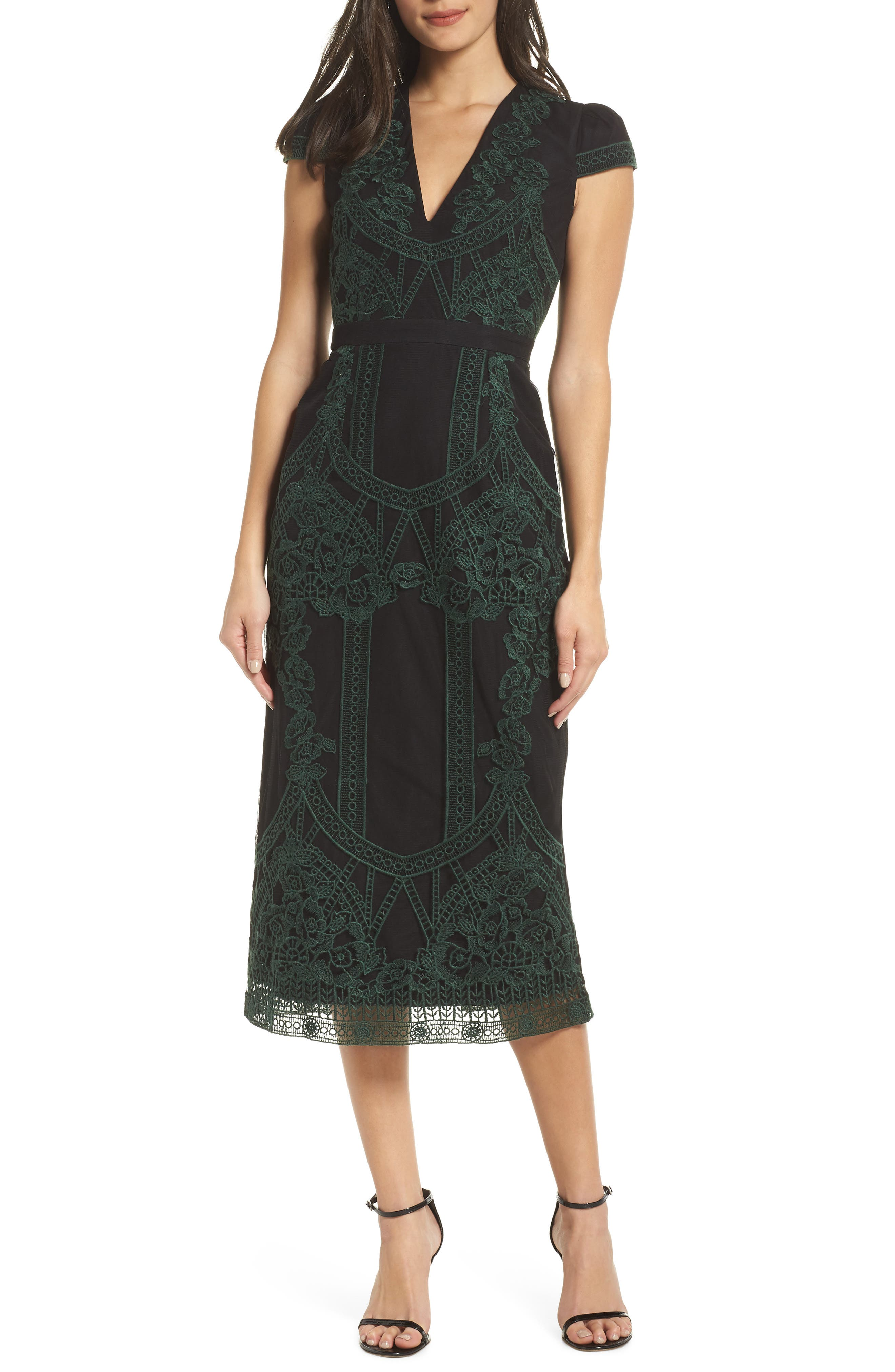 Remmy Embroidered Midi Dress,                             Main thumbnail 1, color,                             GREEN MULTI