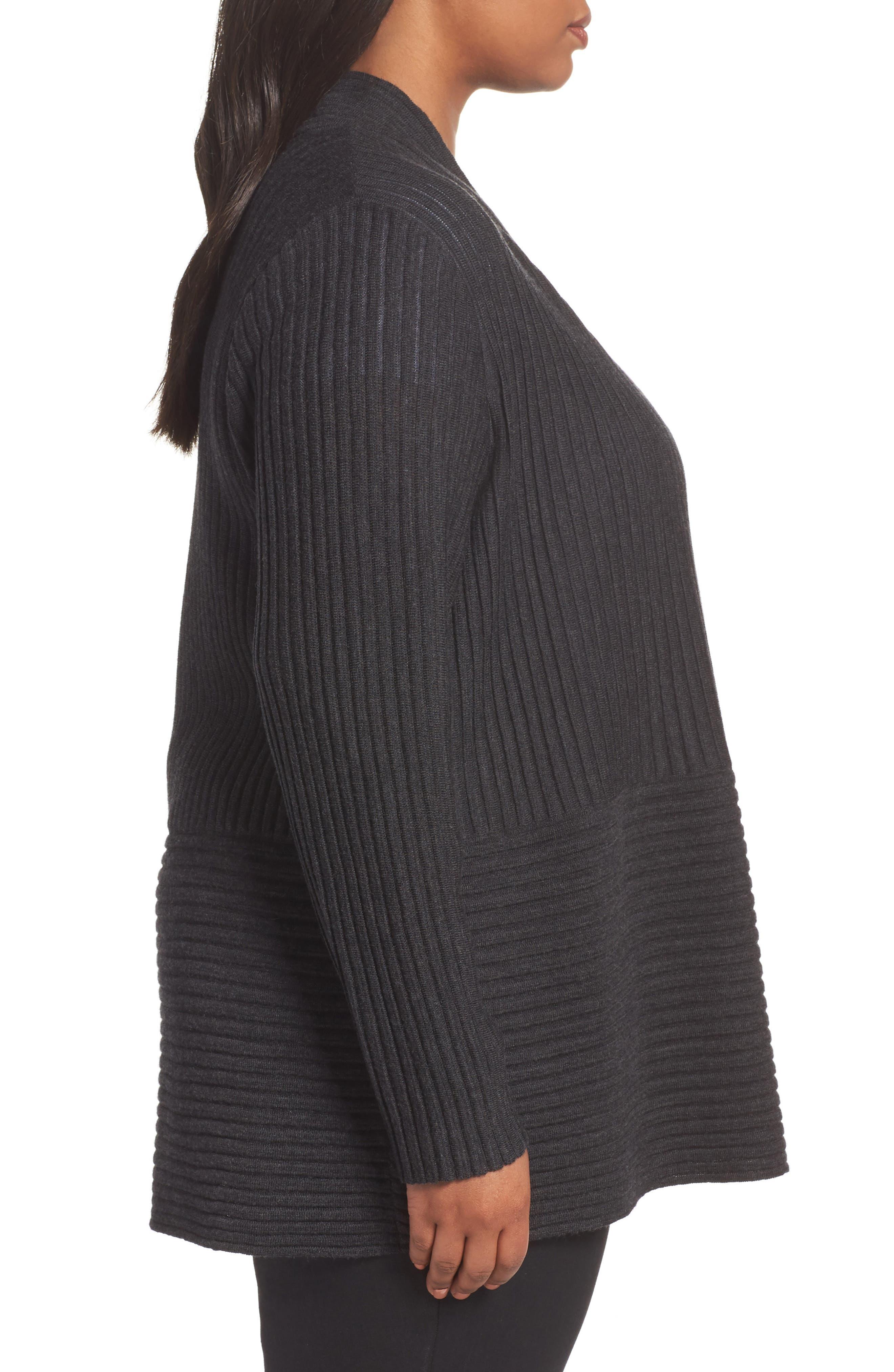 Ribbed Merino Wool Long Cardigan,                             Alternate thumbnail 10, color,
