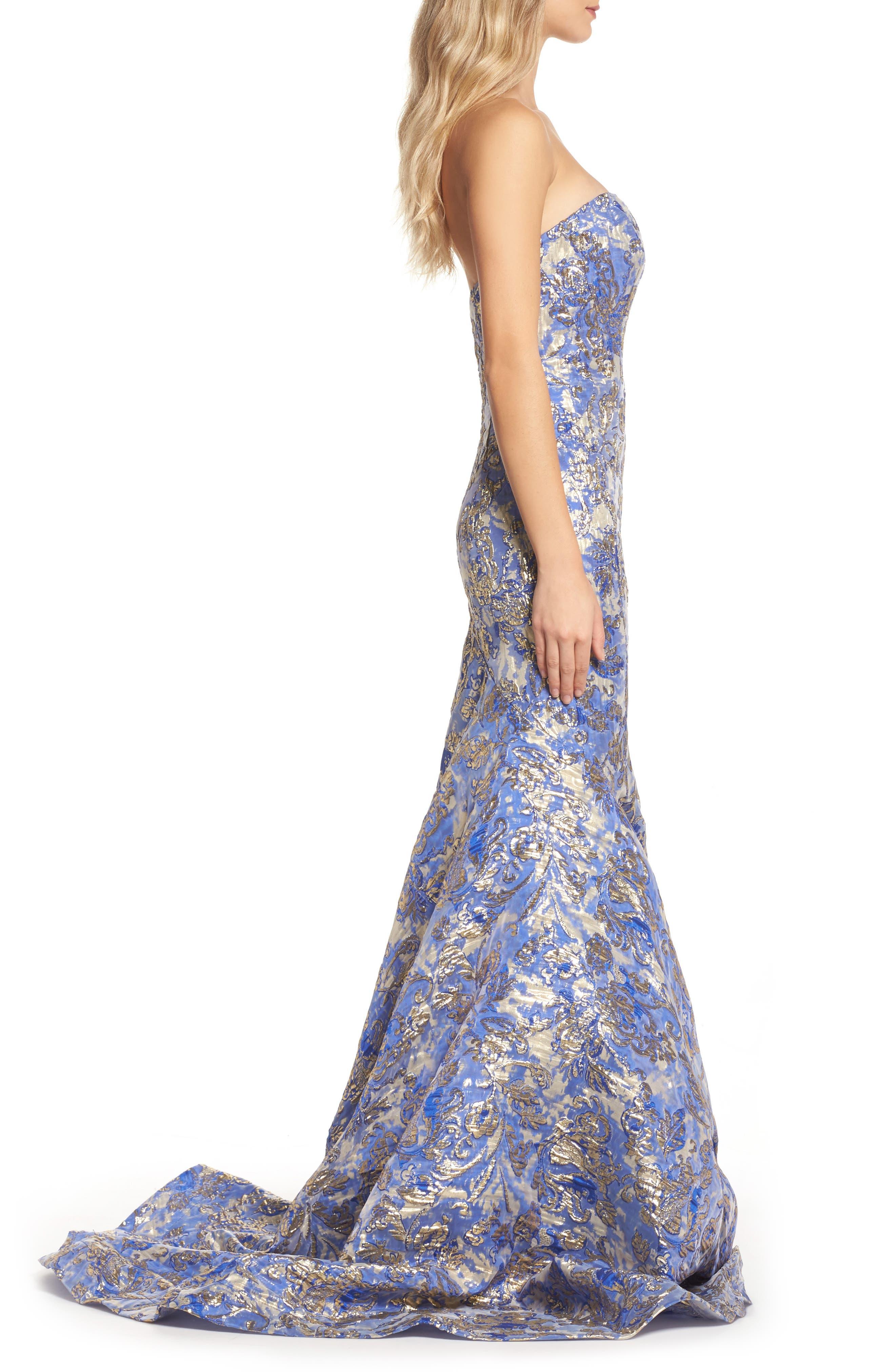 Metallic Jacquard Mermaid Gown,                             Alternate thumbnail 3, color,                             BLUE/GOLD