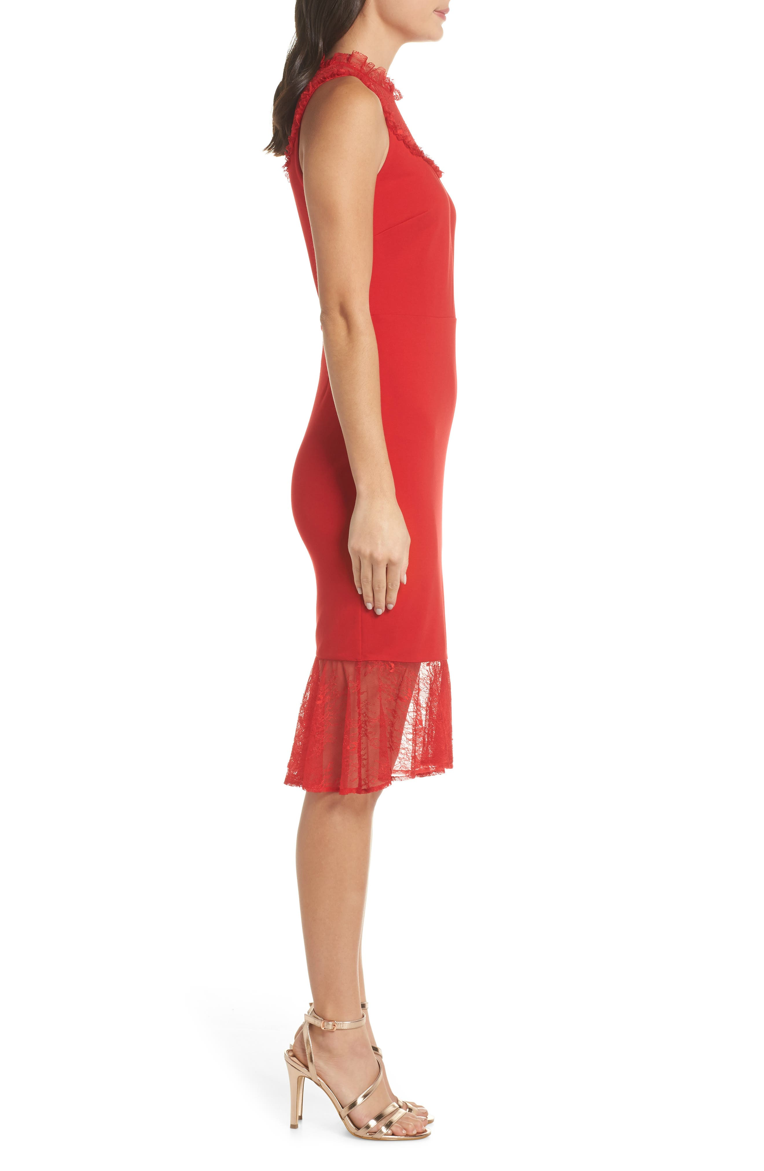 ALI & JAY,                             Two to Tango Lace Detail Dress,                             Alternate thumbnail 3, color,                             SCARLET