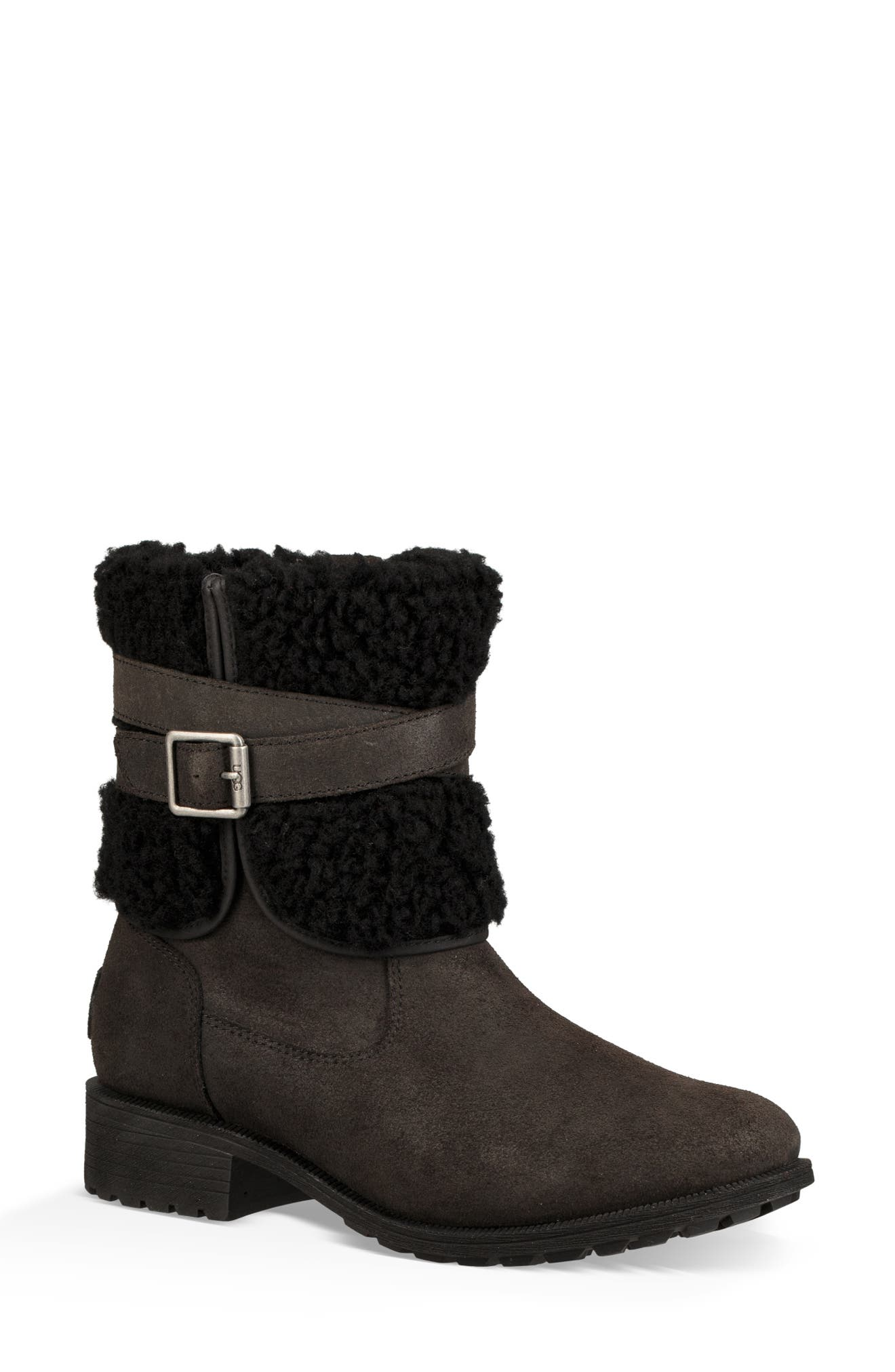 Blayre III Faux Shearling Cuff Bootie,                             Main thumbnail 1, color,                             BLACK