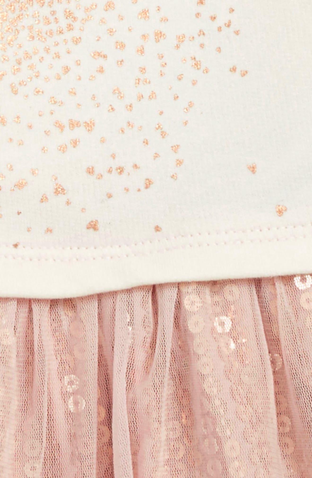 TUCKER + TATE,                             Sequin Tutu Dress,                             Alternate thumbnail 3, color,                             IVORY EGRET- PINK HEART