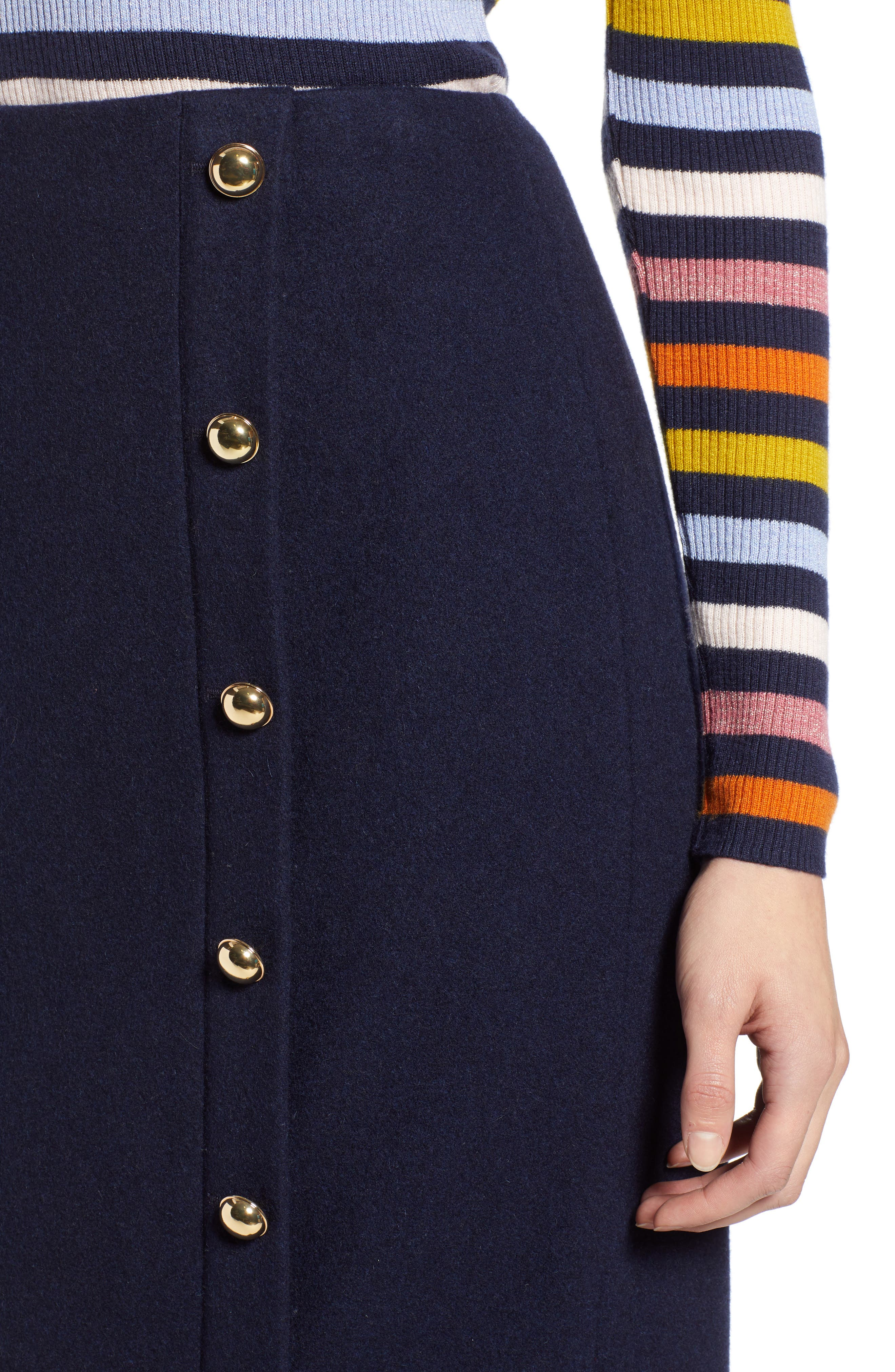 x Atlantic-Pacific Wrap Pencil Skirt,                             Alternate thumbnail 4, color,                             NAVY BLAZER