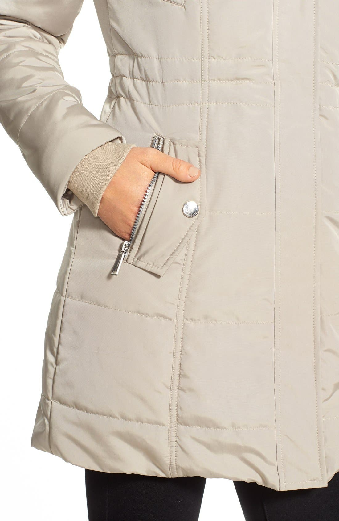 BCBGENERATION,                             FauxFur Trim Hooded Quilted Coat,                             Alternate thumbnail 4, color,                             275