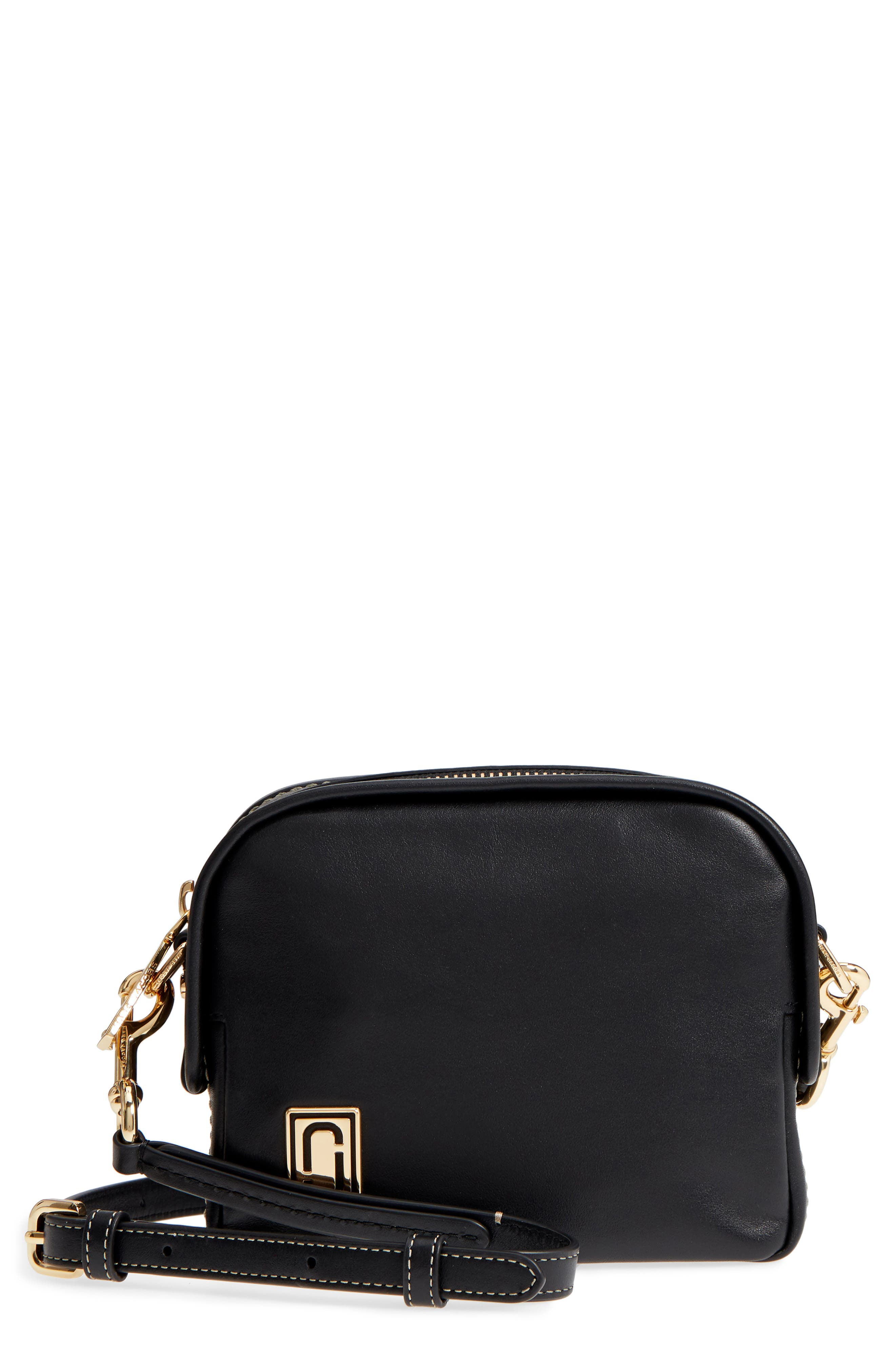 The Mini Squeeze Leather Crossbody Bag,                             Main thumbnail 1, color,                             BLACK