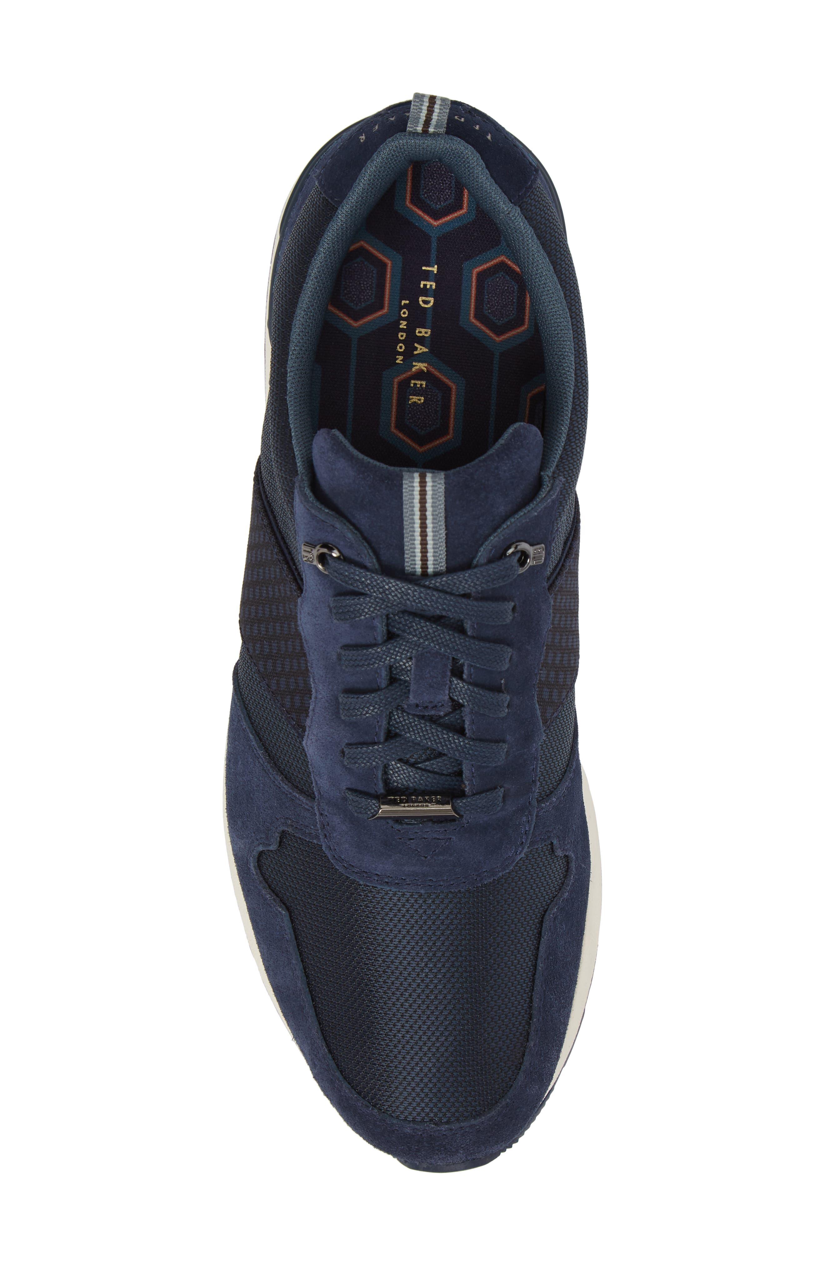 Hebey Lace-Up Sneaker,                             Alternate thumbnail 5, color,                             DARK BLUE TEXTILE