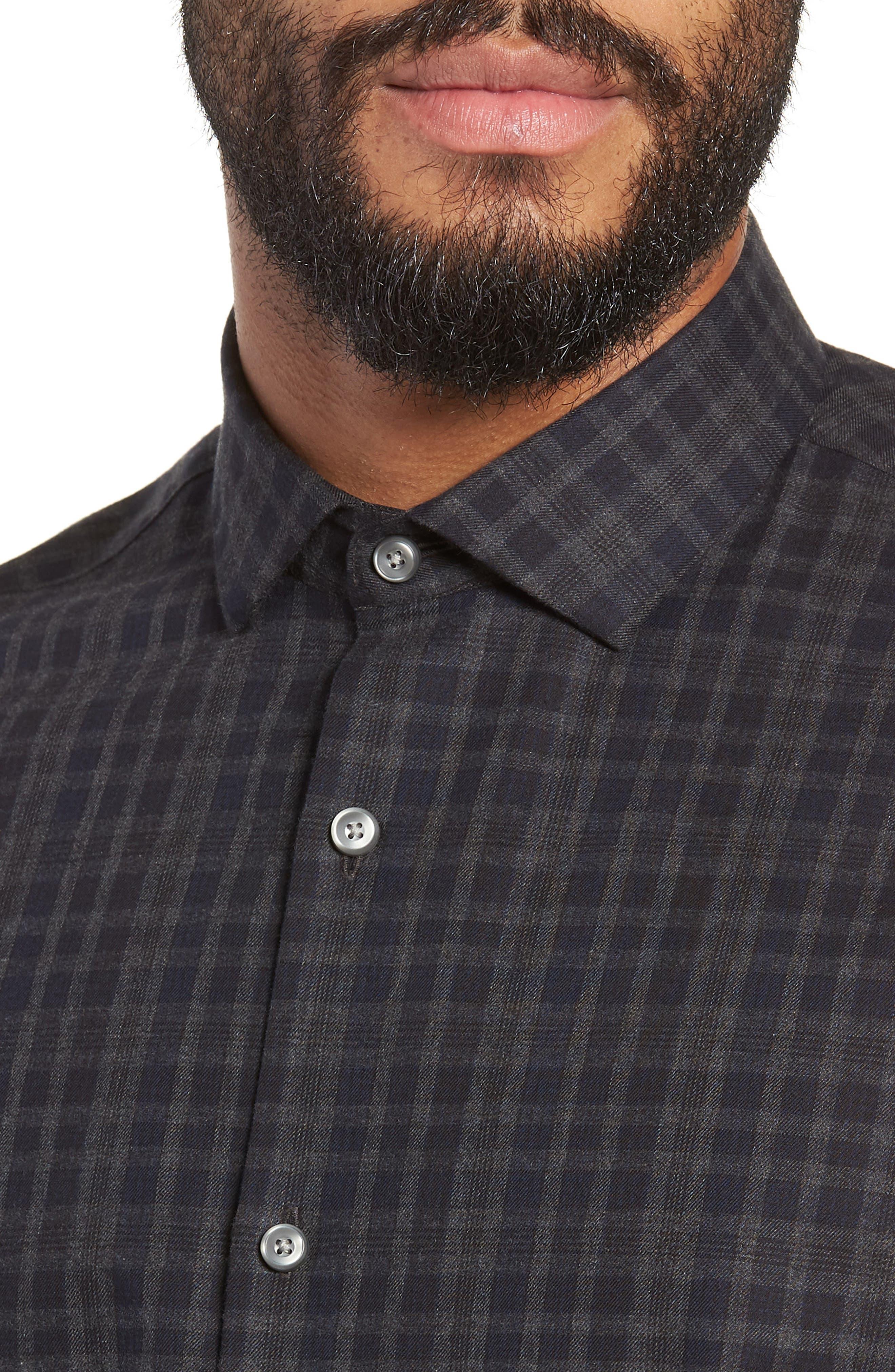 Slim Fit Check Flannel Sport Shirt,                             Alternate thumbnail 4, color,                             BLACK HEATHER NAVY CHECK