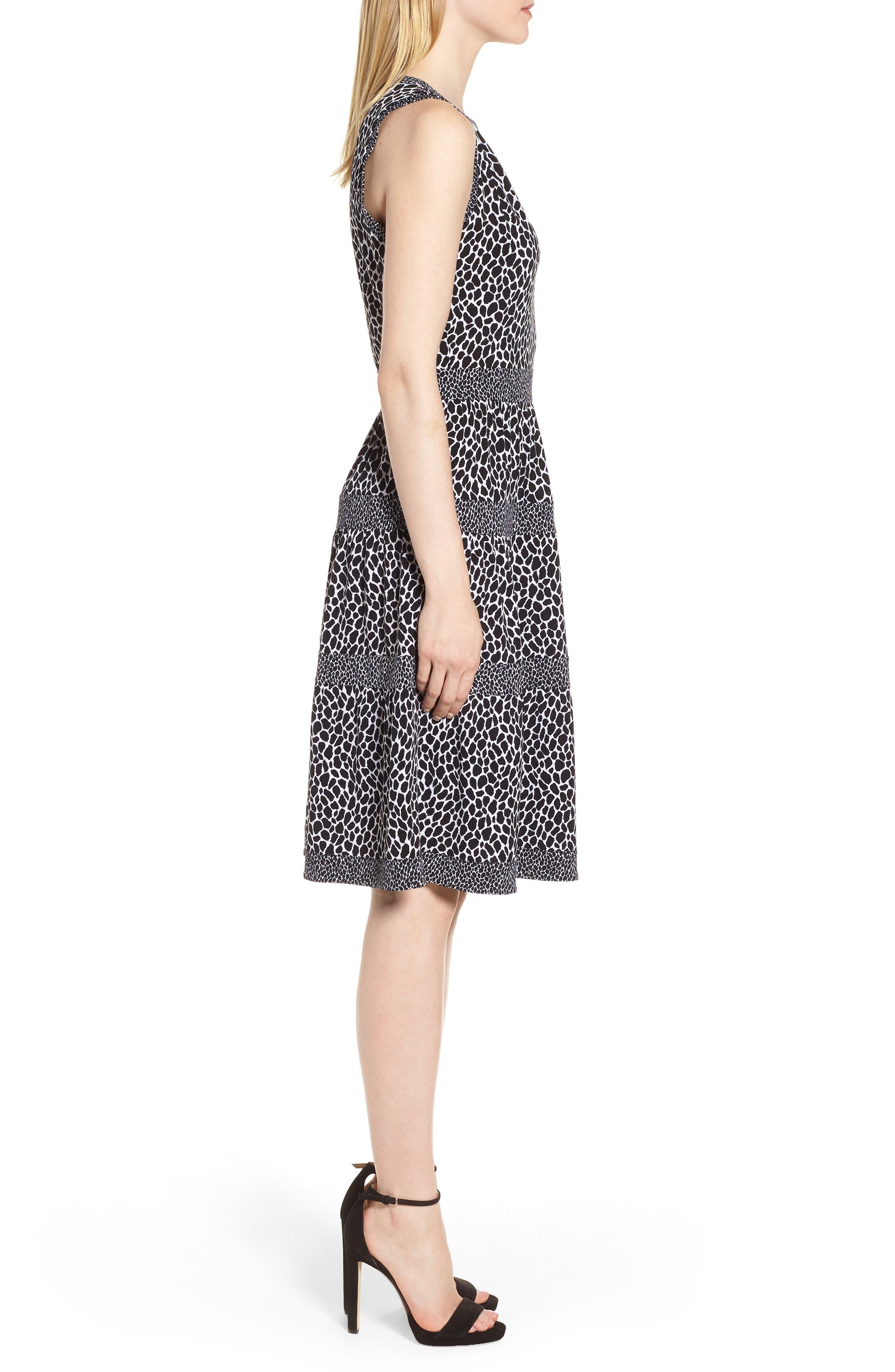 Sleeveless Leopard Border Fit & Flare Dress,                             Alternate thumbnail 3, color,