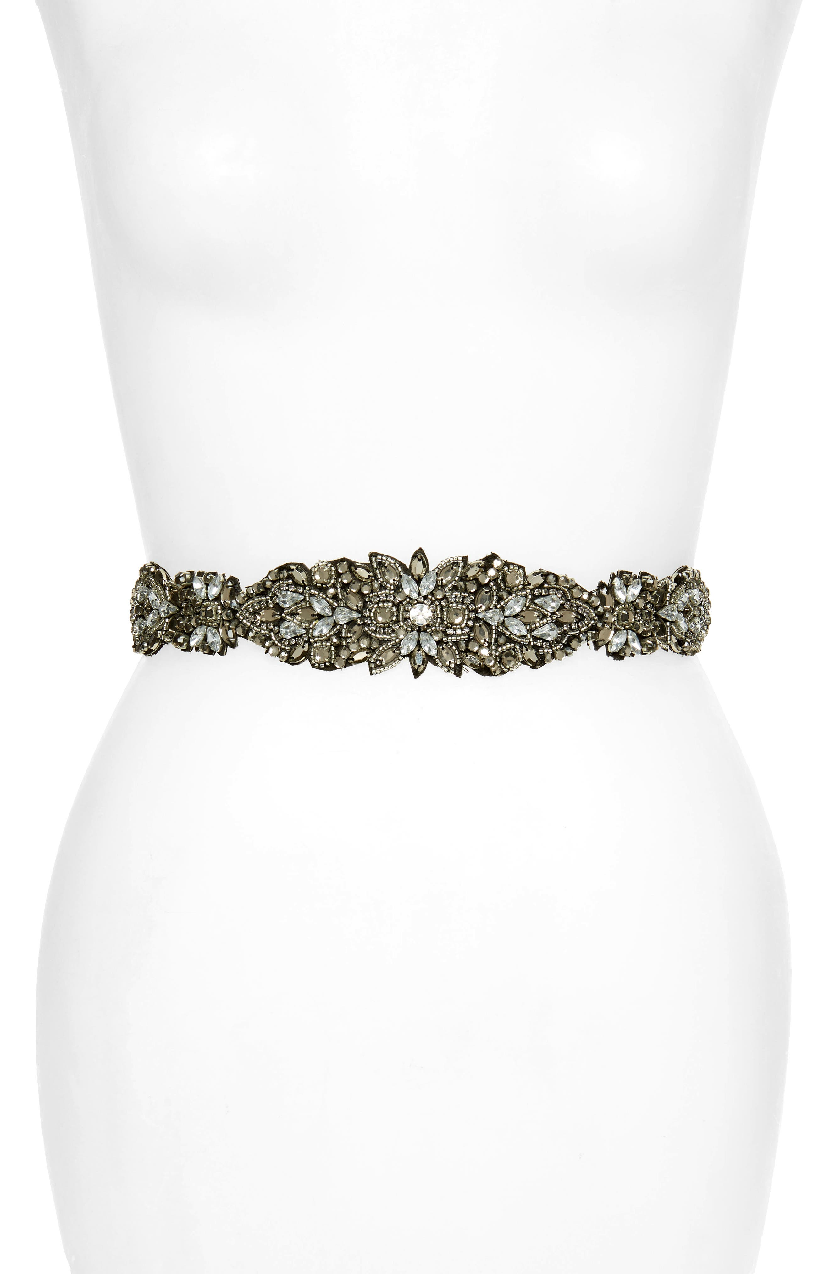 Nordstrom Crystal & Bead Embellished Stretch Belt, Silver