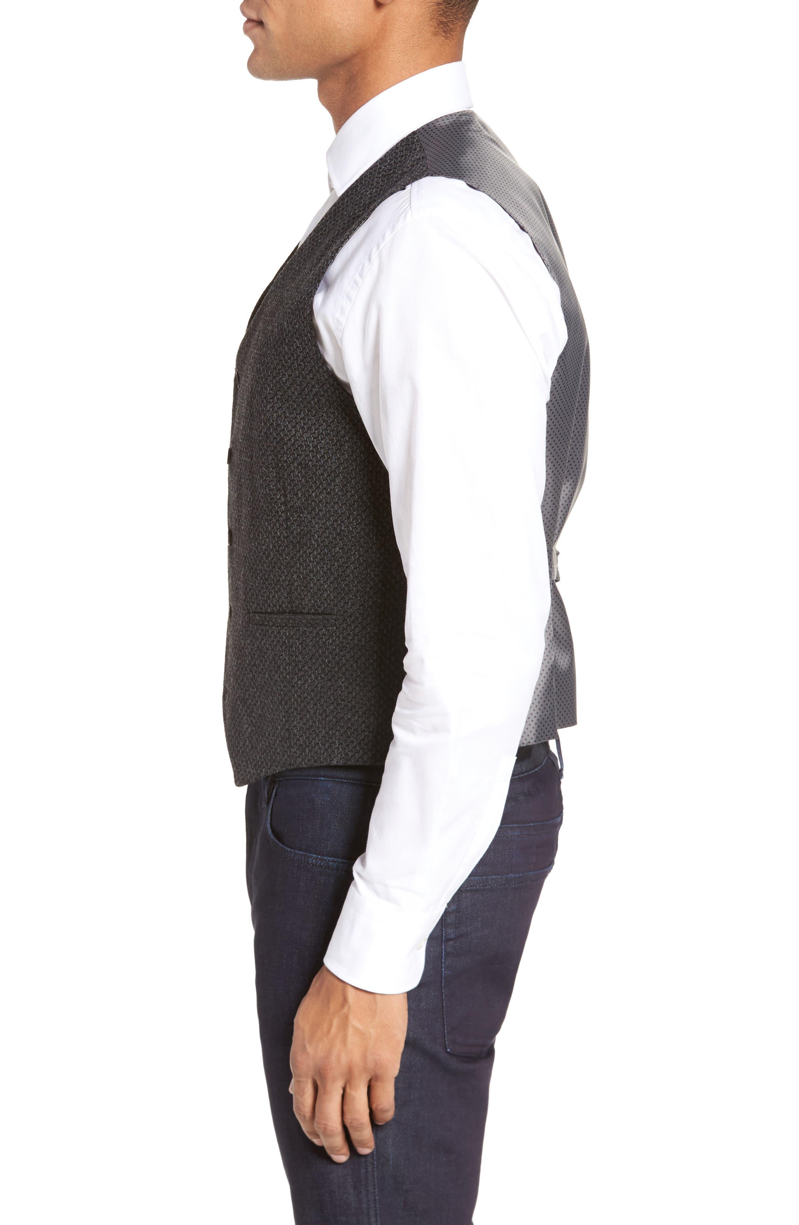 Textured Wool Blend Vest,                             Alternate thumbnail 3, color,                             020