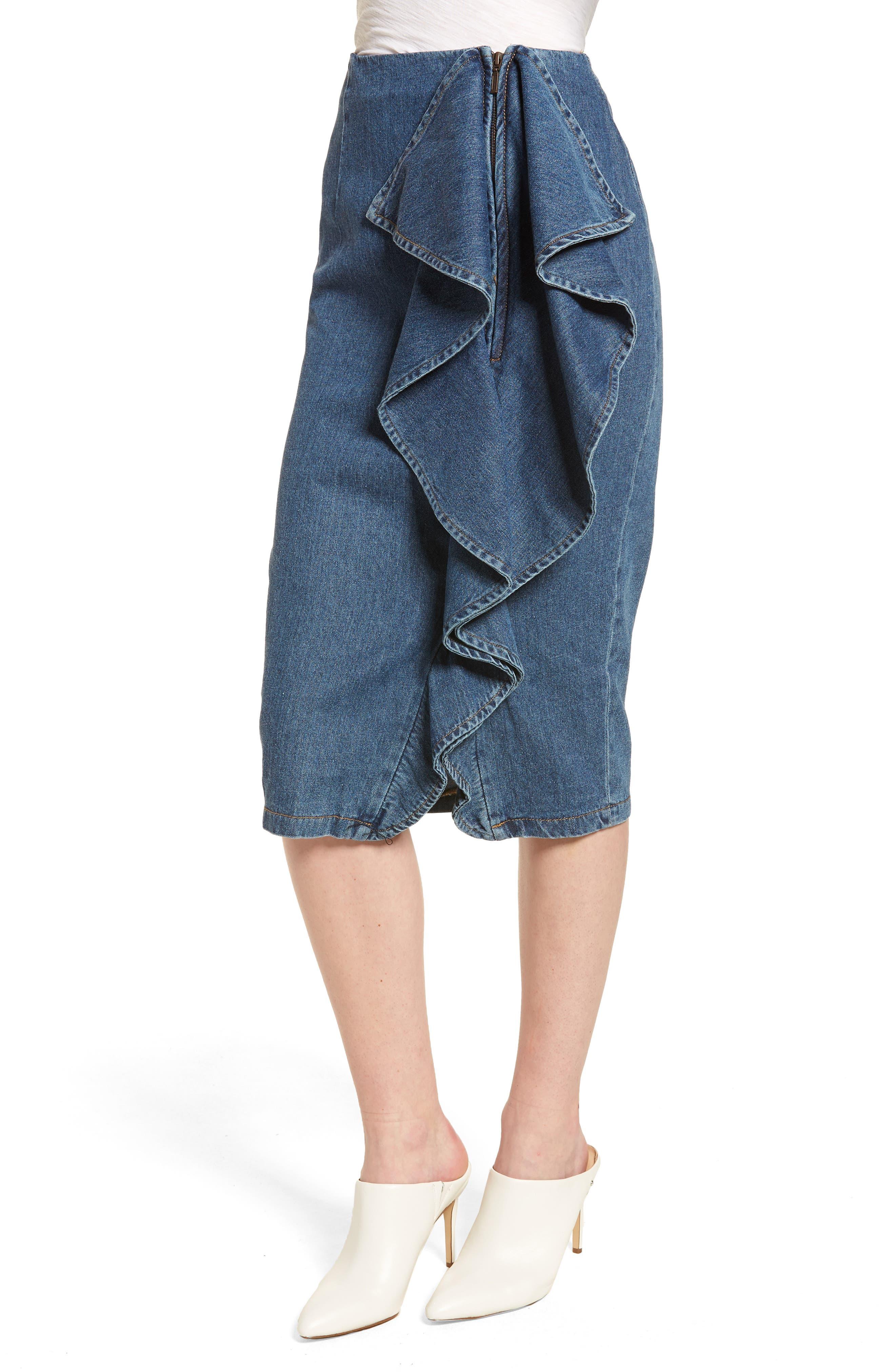 Side Ruffle Denim Pencil Skirt,                             Alternate thumbnail 3, color,                             400