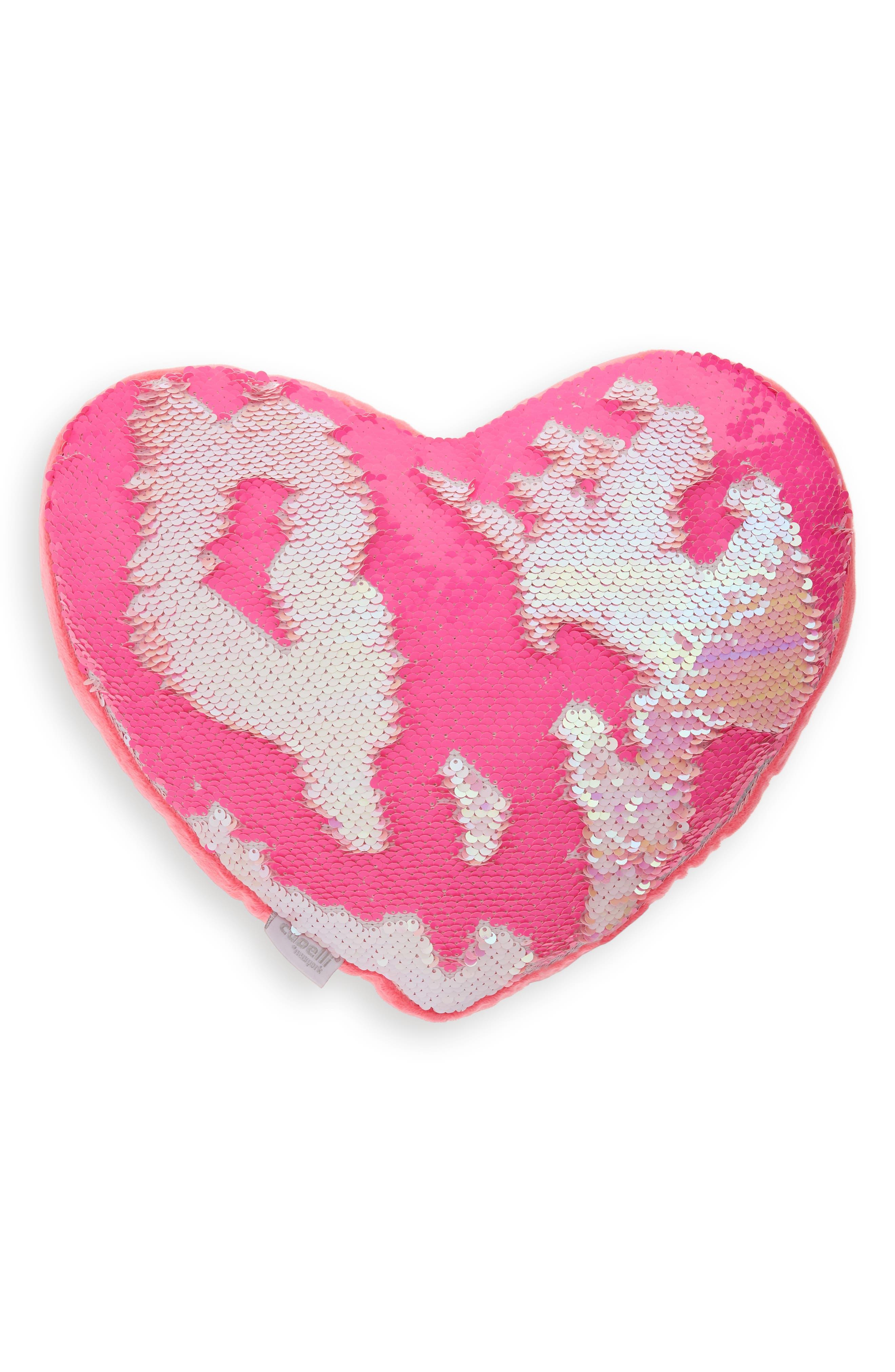 CAPELLI NEW YORK,                             Reversible Sequin Heart Pillow,                             Alternate thumbnail 5, color,                             PINK COMBO