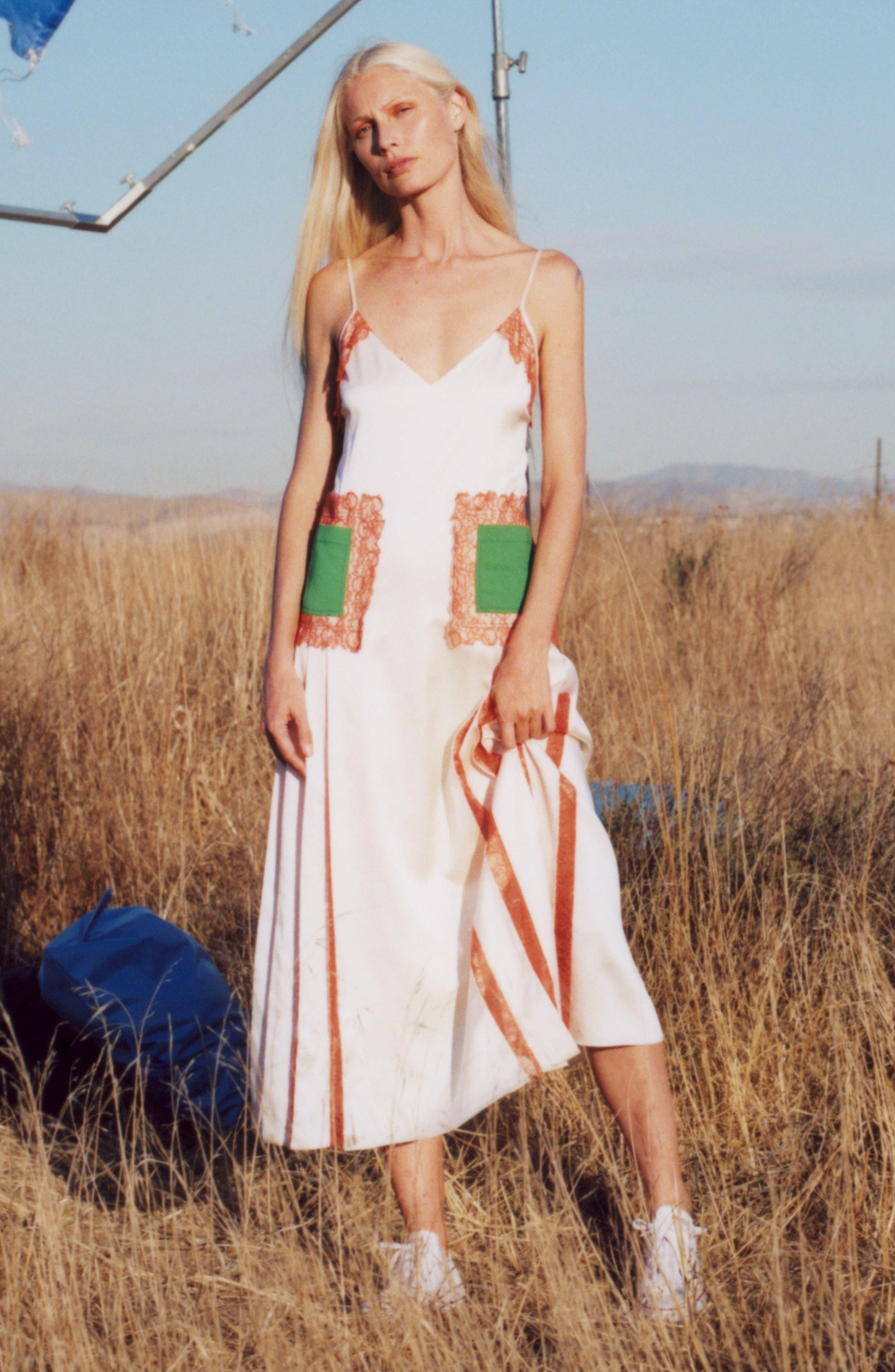 Claire Silk Midi Dress,                             Alternate thumbnail 8, color,                             104