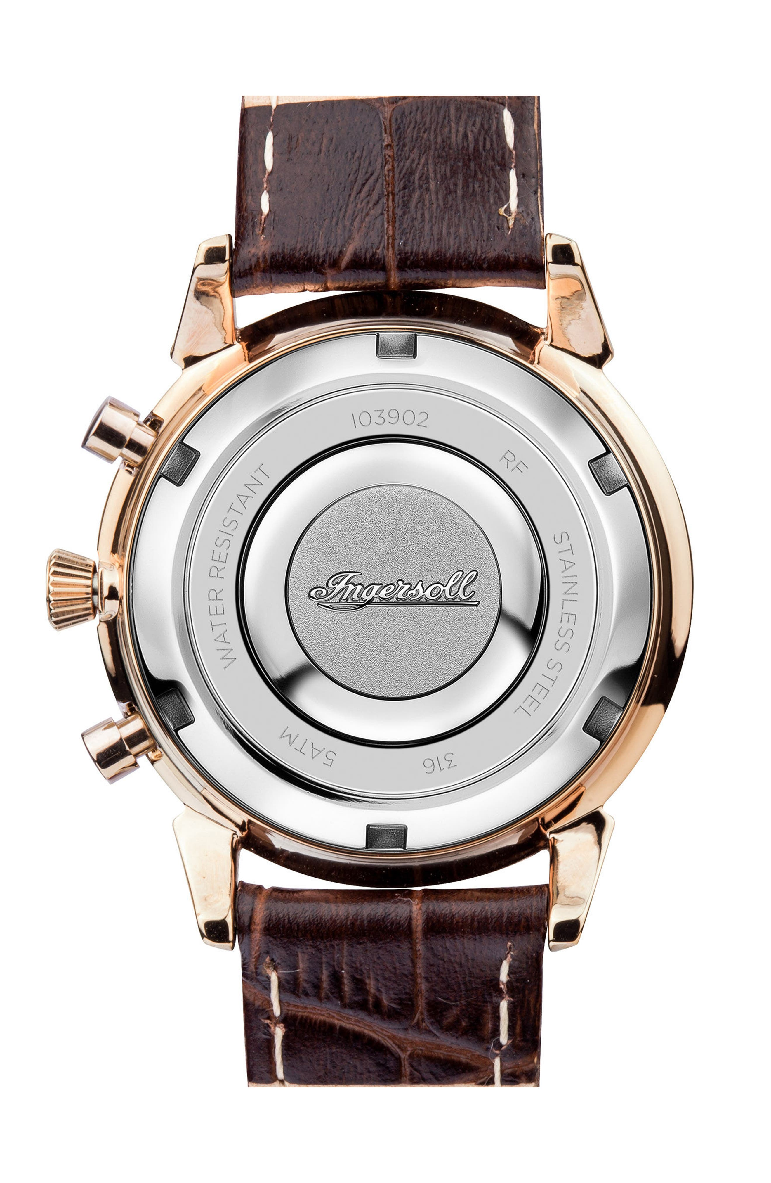 Ingersoll Crystal Accent Chronograph Leather Strap Watch, 35mm,                             Alternate thumbnail 4, color,