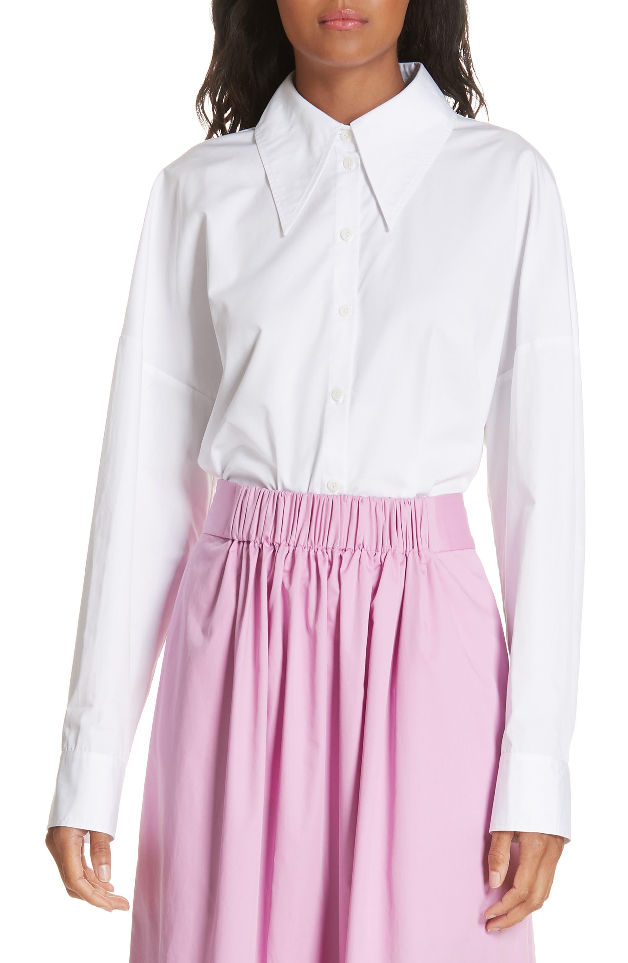 Oversize Poplin Shirt,                             Main thumbnail 1, color,                             WHITE