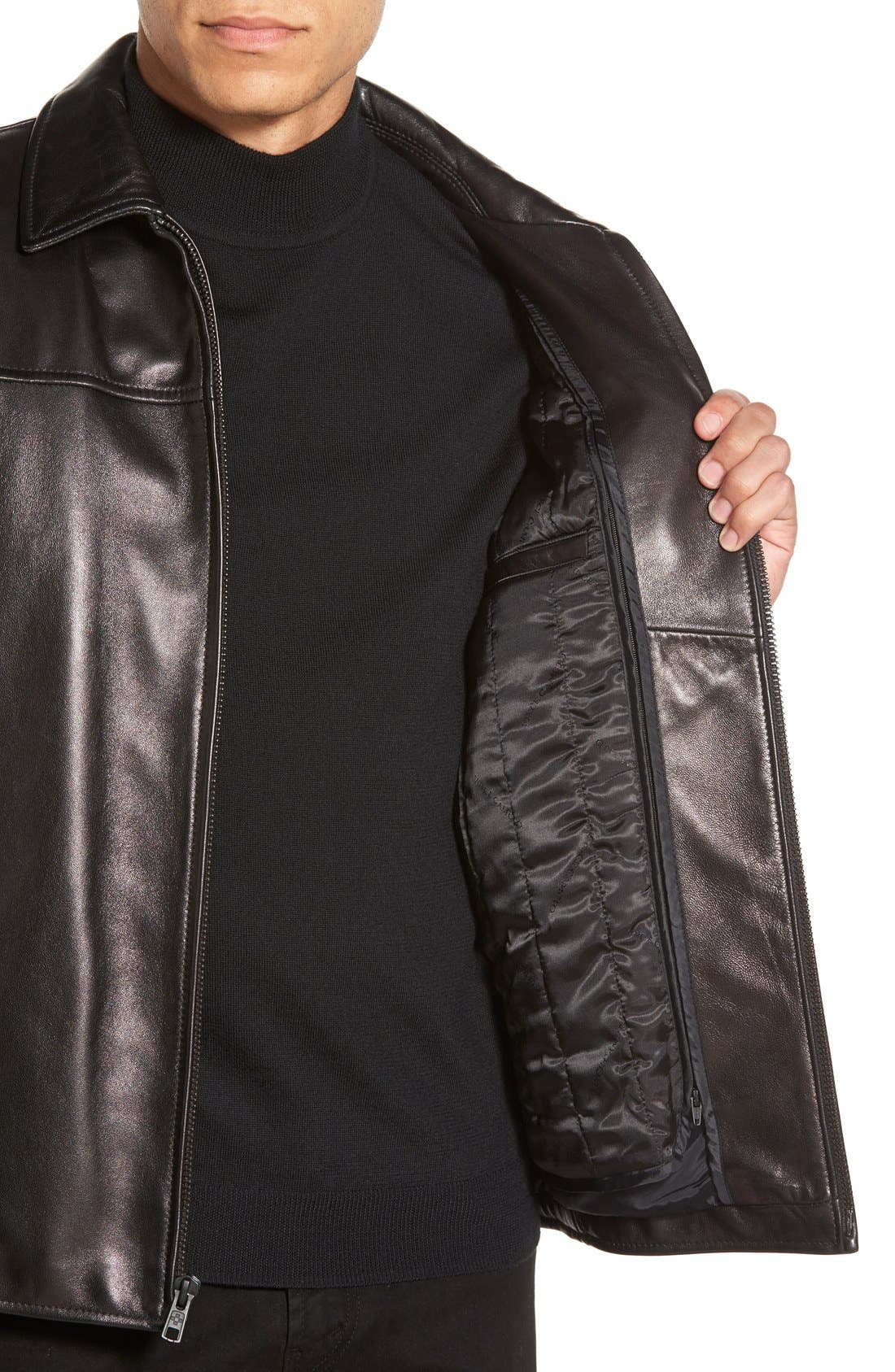 Leather Jacket with Removable Liner,                             Alternate thumbnail 2, color,                             001