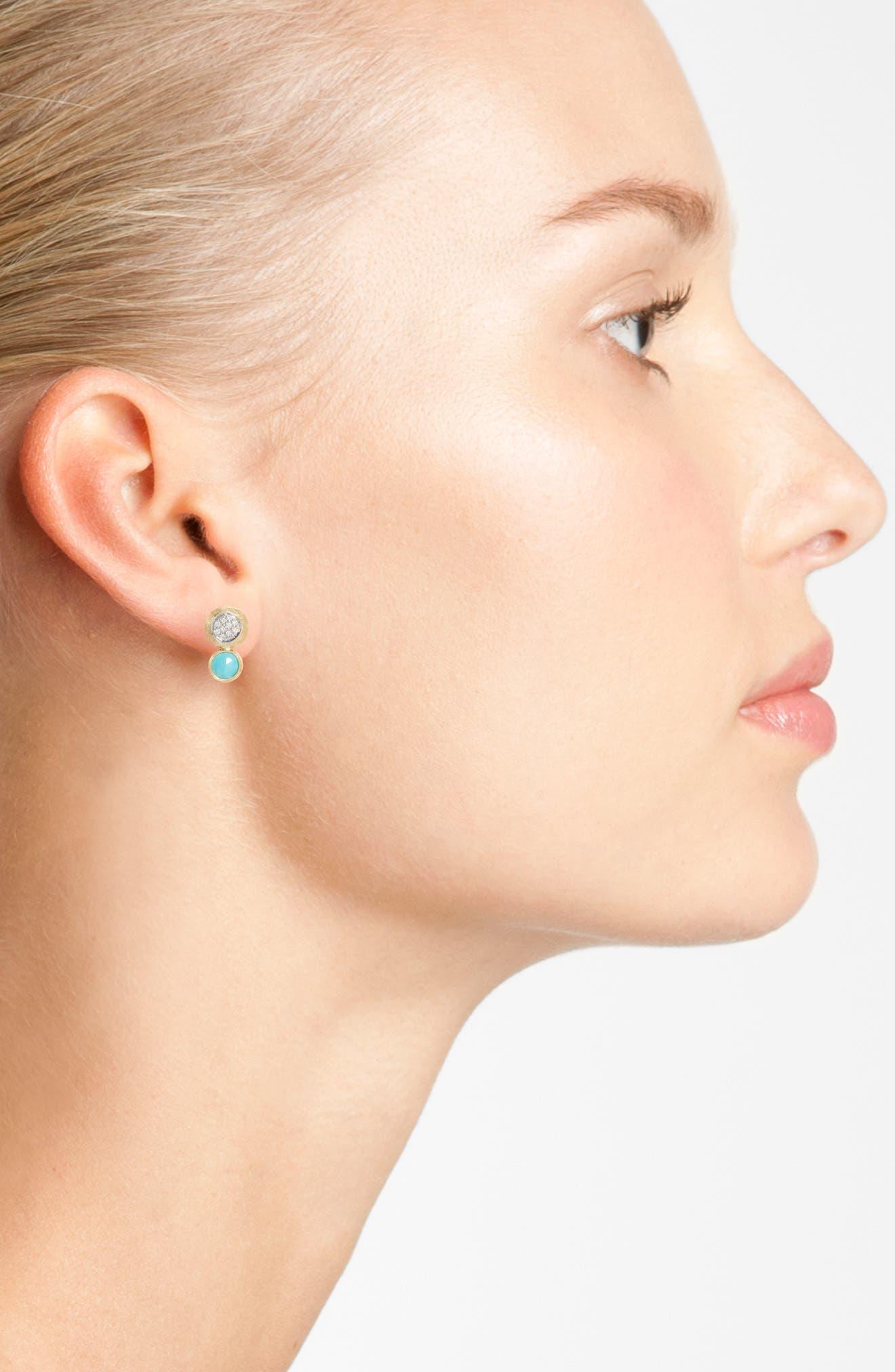 Jaipur Diamond & Turquoise Stud Earrings,                             Alternate thumbnail 2, color,                             710