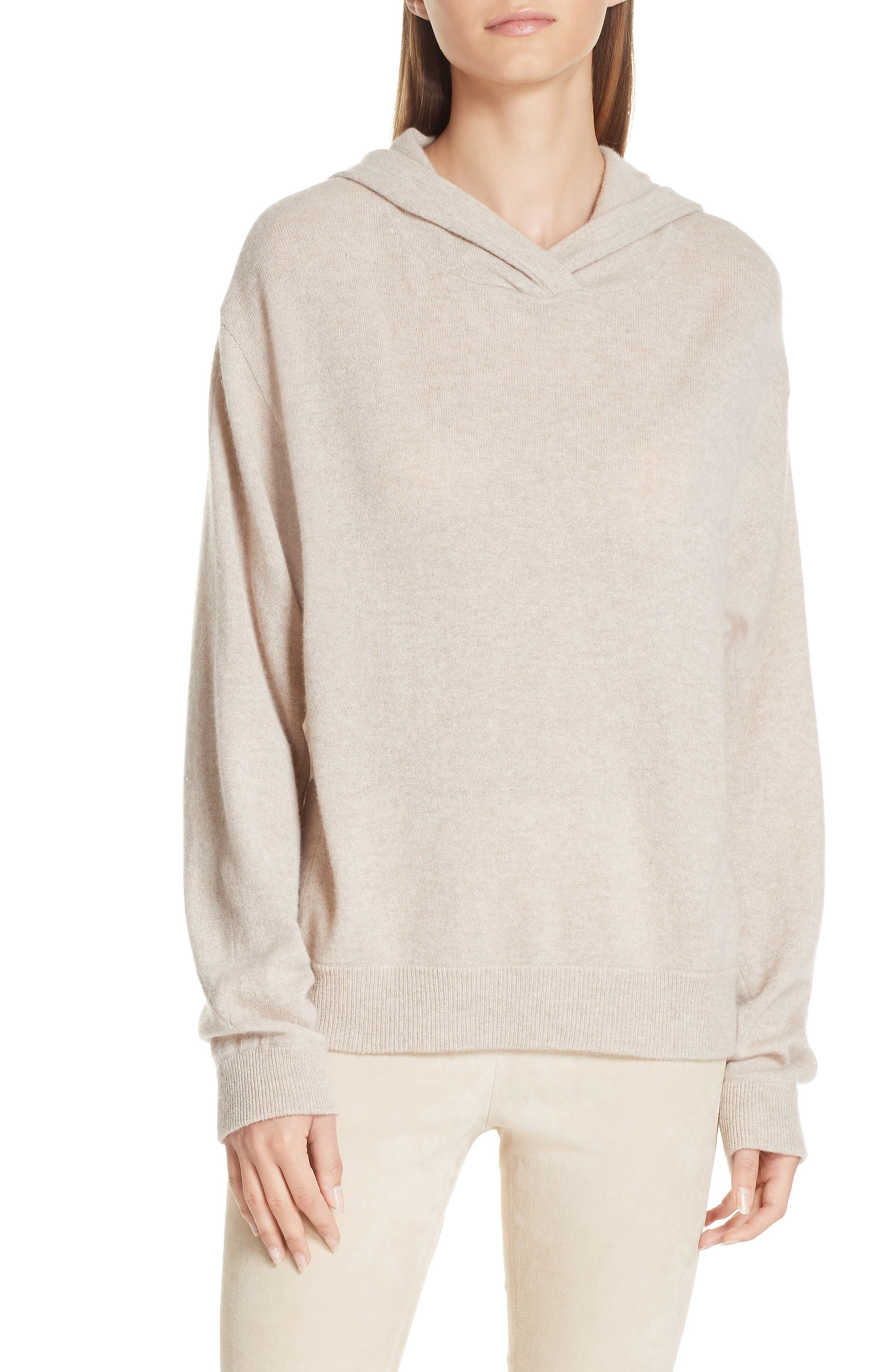 Overlap Cashmere Hoodie,                             Main thumbnail 1, color,                             LIGHT HEATHER MARZIPAN