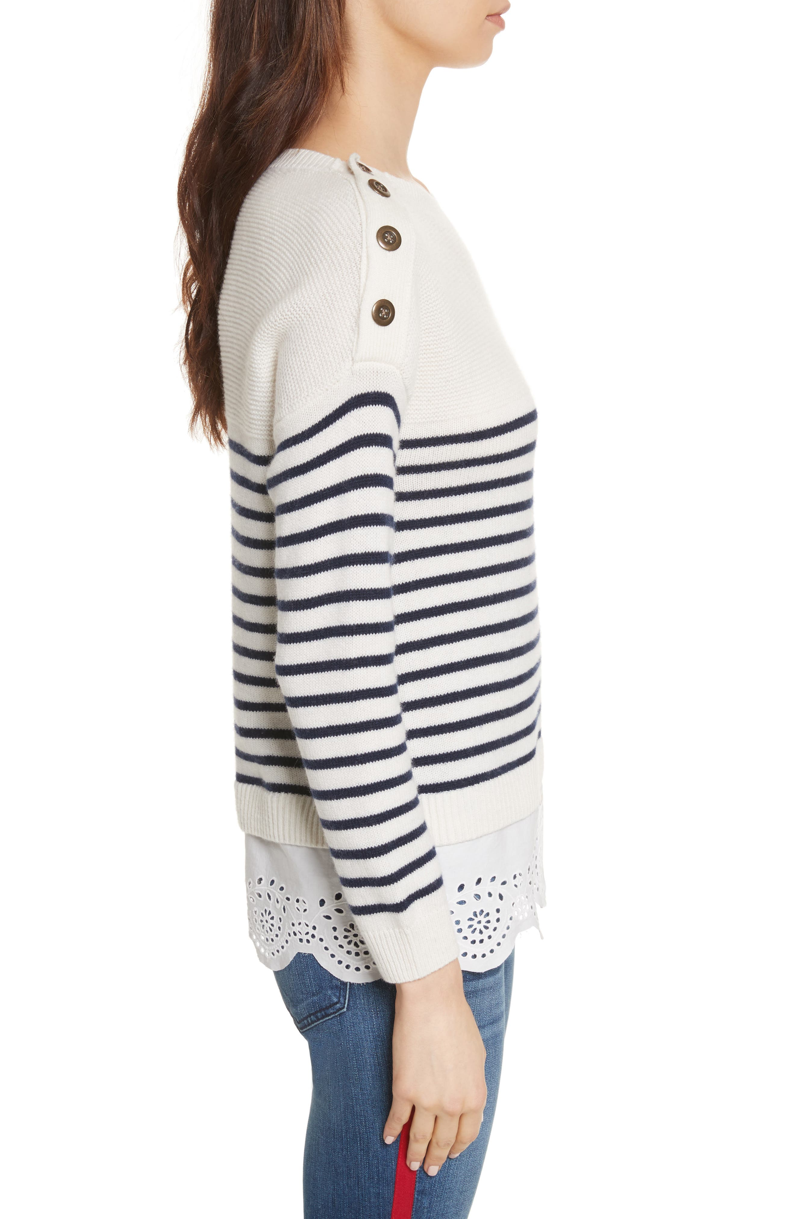 Aefre Woven Trim Wool & Cashmere Sweater,                             Alternate thumbnail 3, color,                             029