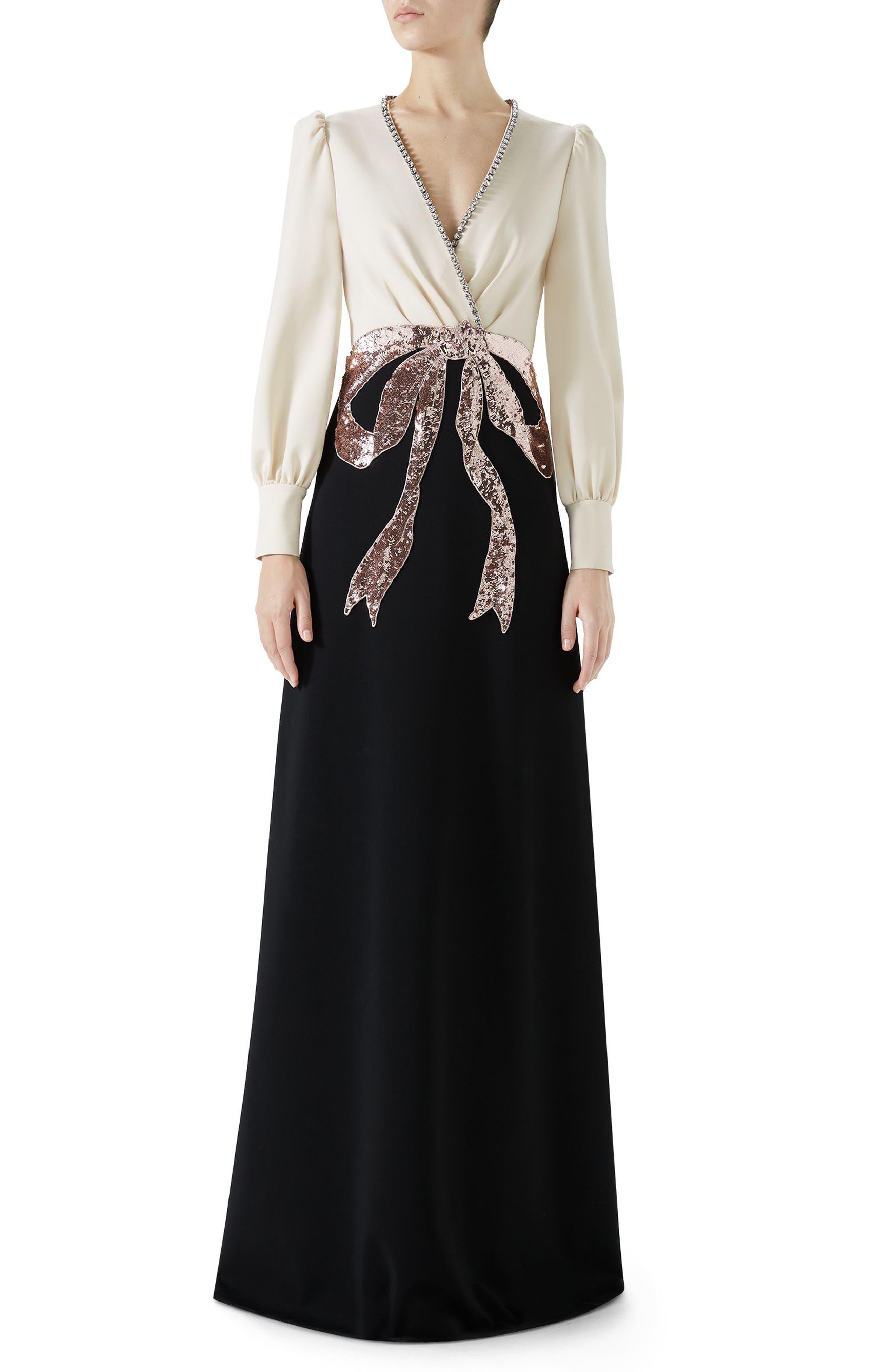 Trompe L'Oeil Bow Stretch Jersey Gown,                         Main,                         color, BLACK/ ALMOND FLOWER