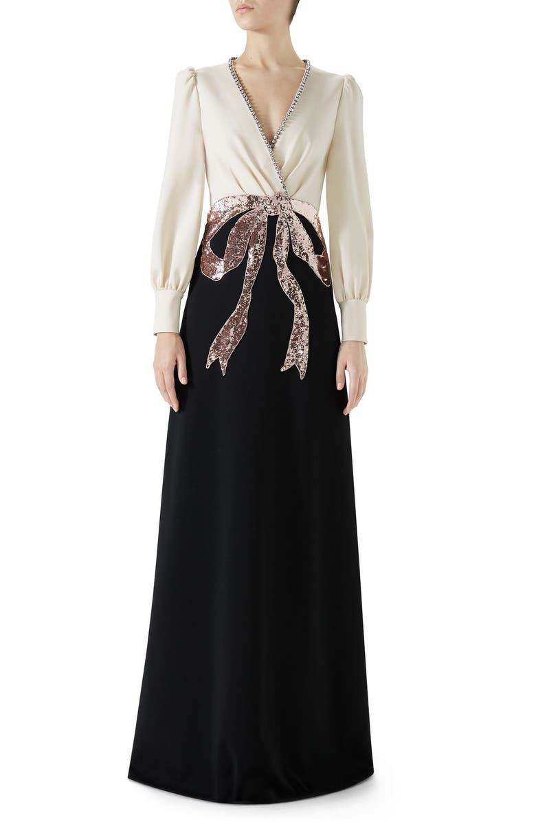 Trompe L'Oeil Bow Stretch Jersey Gown,                         Main,                         color, BLACK/ ALMOND FLOWER