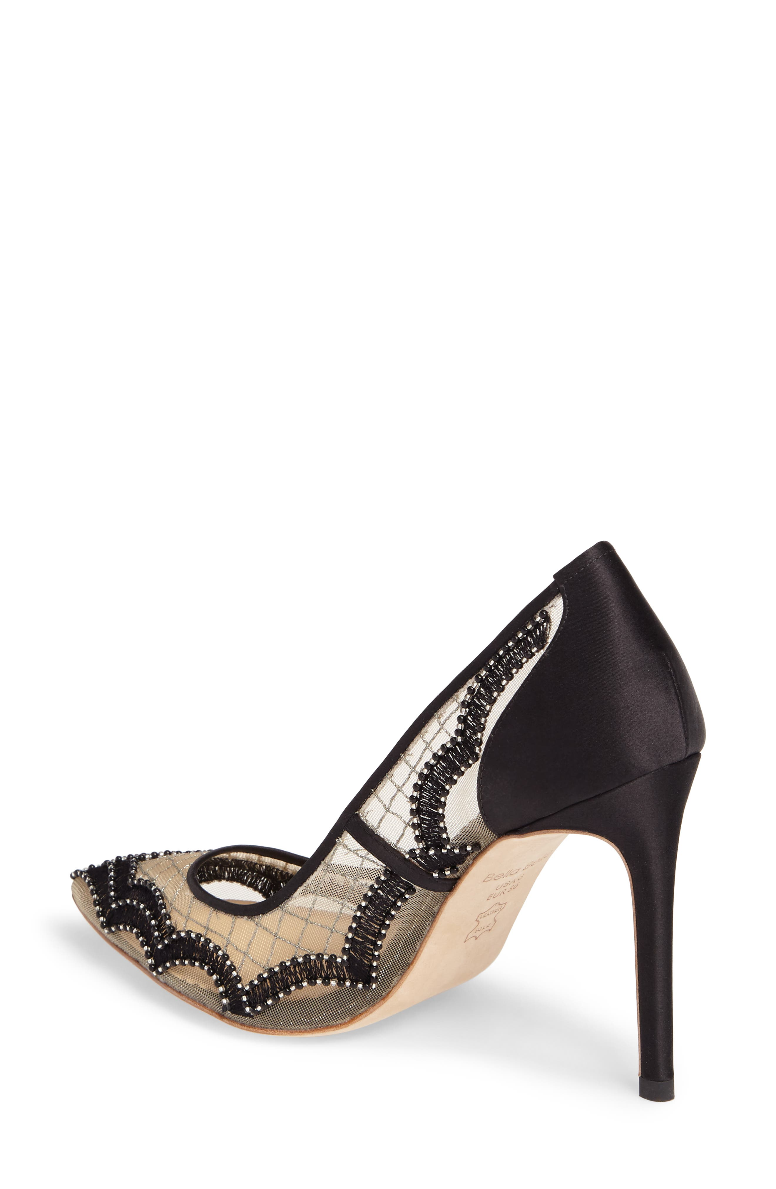 Nadia Scalloped Embroidery Pump,                             Alternate thumbnail 2, color,                             BLACK