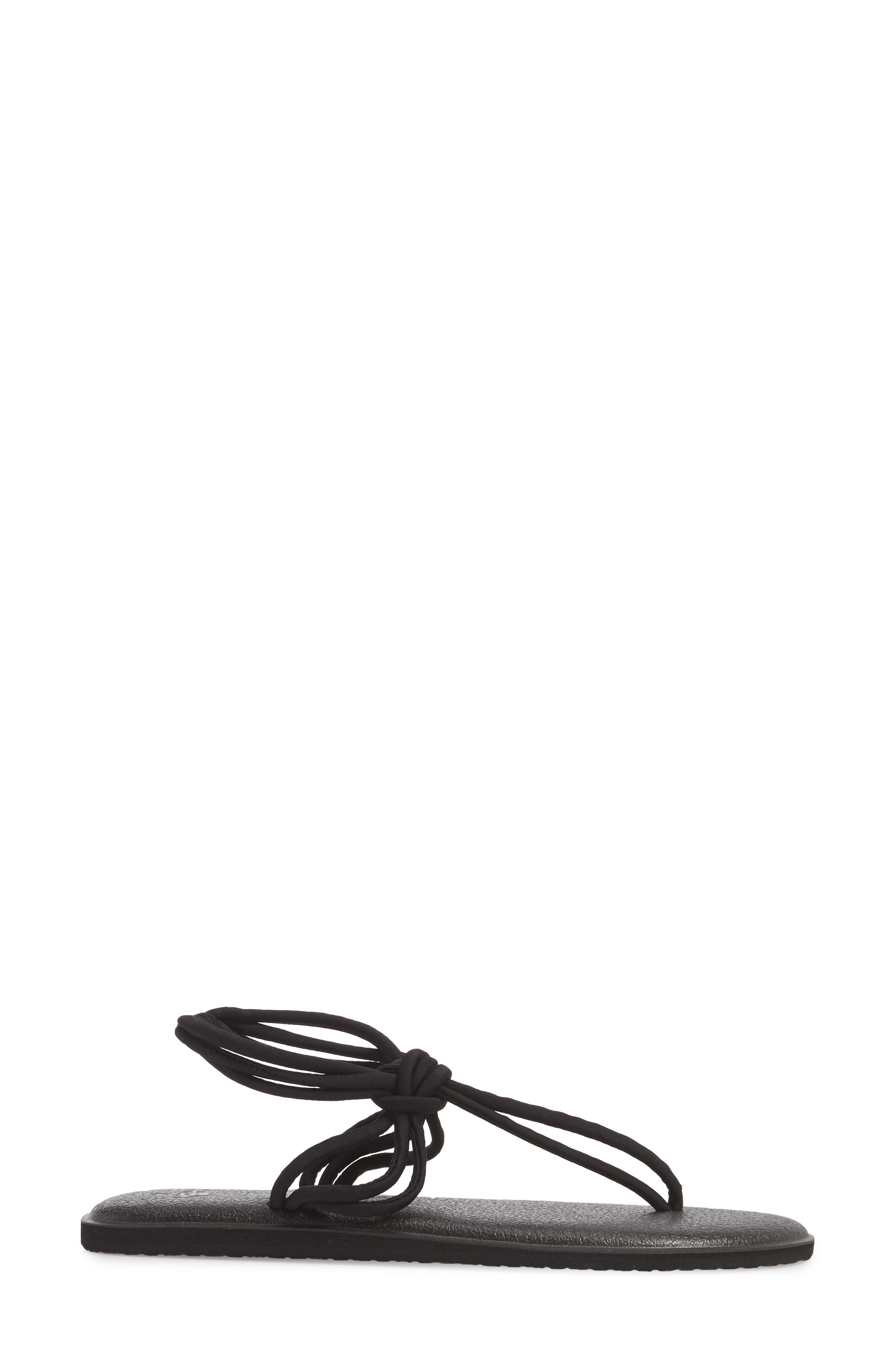 Yoga Sunshine Knotted Thong Sandal,                             Alternate thumbnail 3, color,                             BLACK