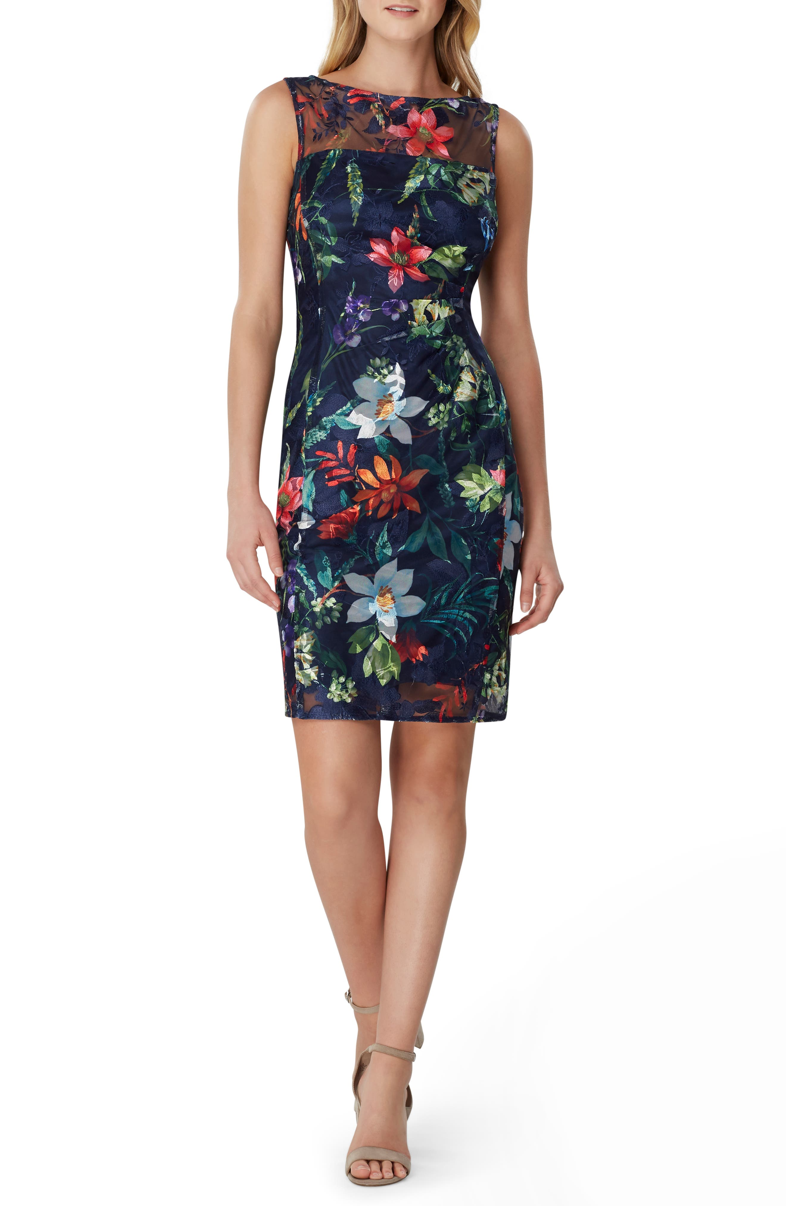 Tahari Sleeveless Floral Embroidered Sheath Dress, Blue