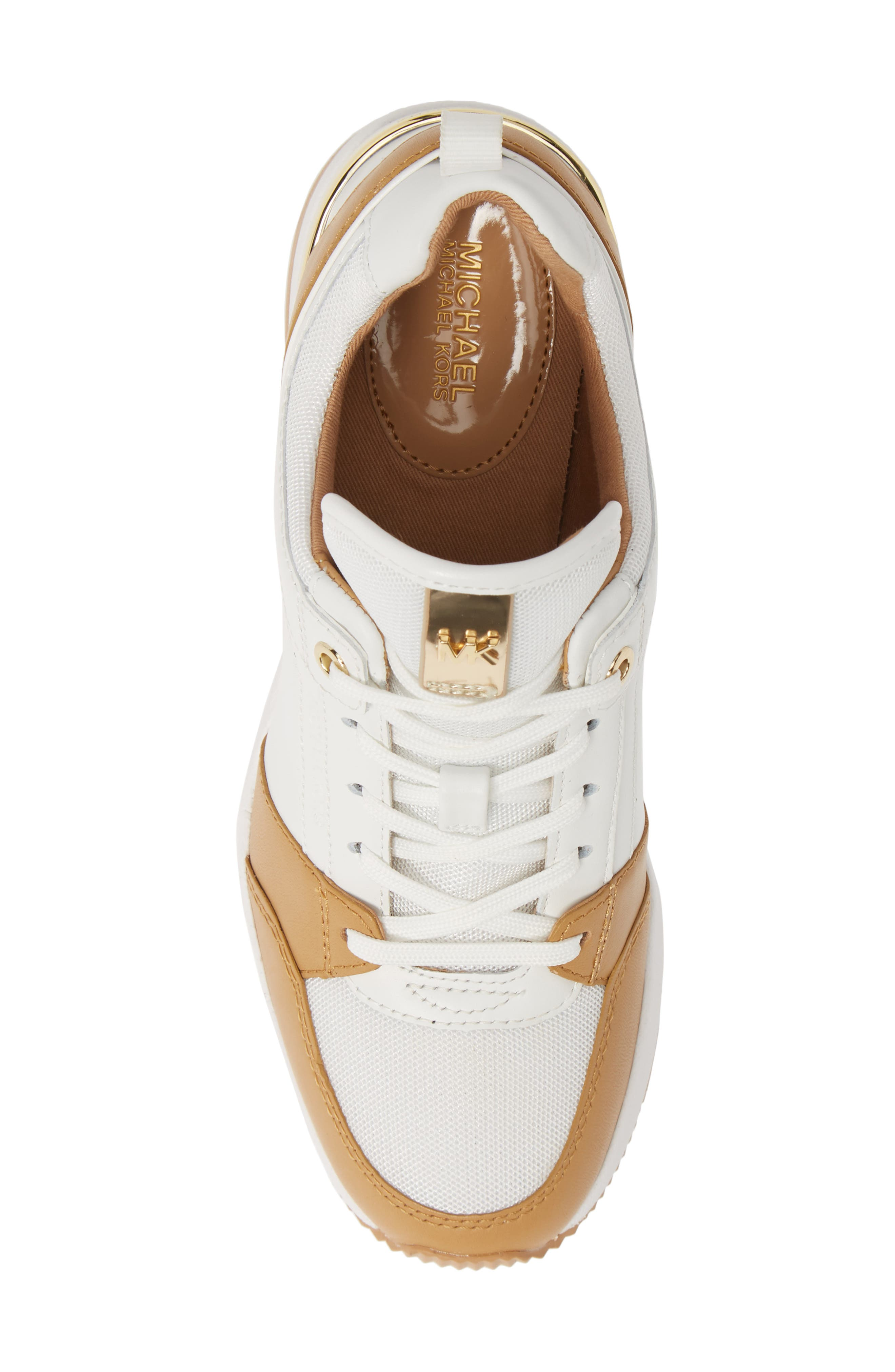 MICHAEL MICHAEL KORS,                             Georgie Wedge Sneaker,                             Alternate thumbnail 5, color,                             OPTIC WHITE MULTI