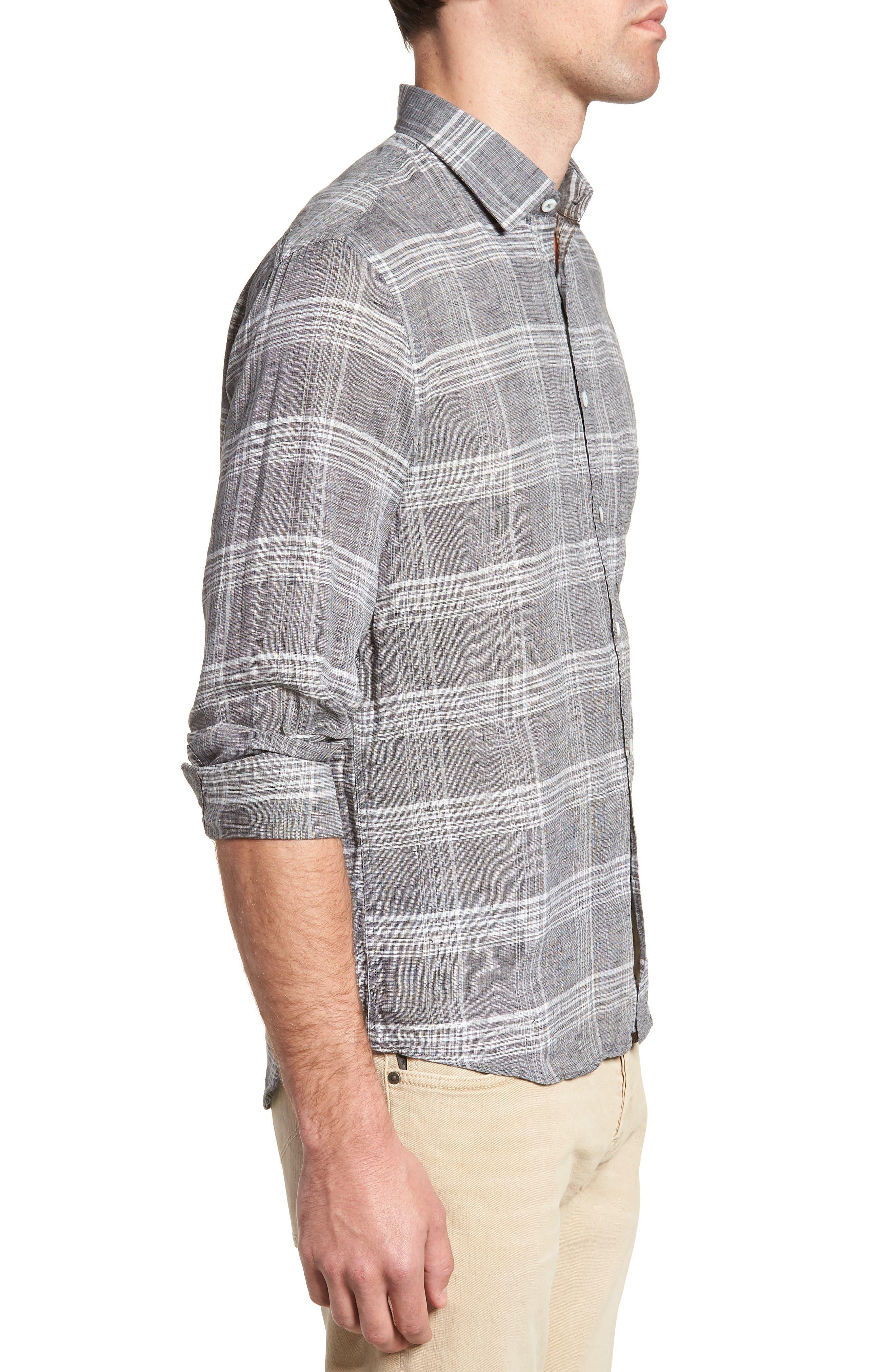 John Standard Fit Plaid Linen Sport Shirt,                             Alternate thumbnail 3, color,                             061