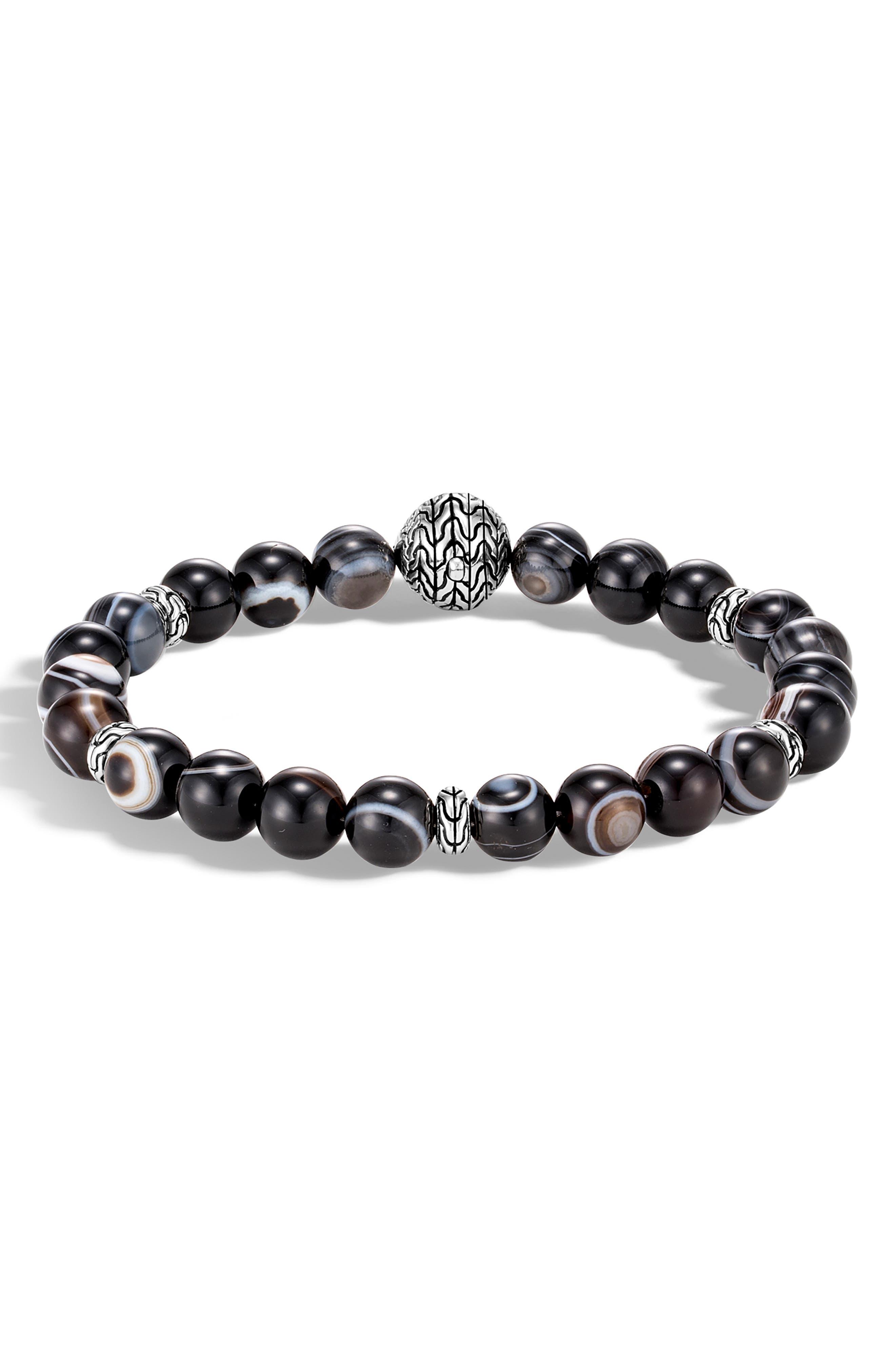 Men's Classic Chain Banded Agate Bracelet,                         Main,                         color, SILVER/ SODALITE/ HEMATITE