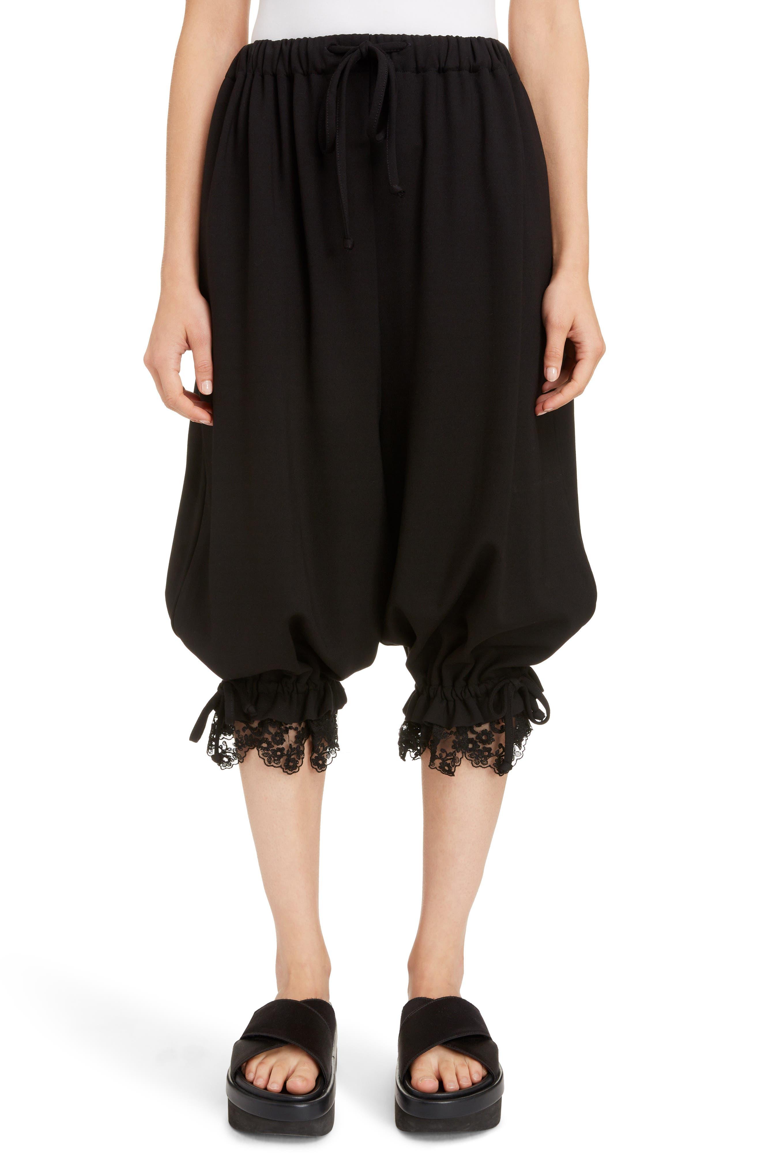 Lace Trim Culottes,                             Main thumbnail 1, color,                             BLACK
