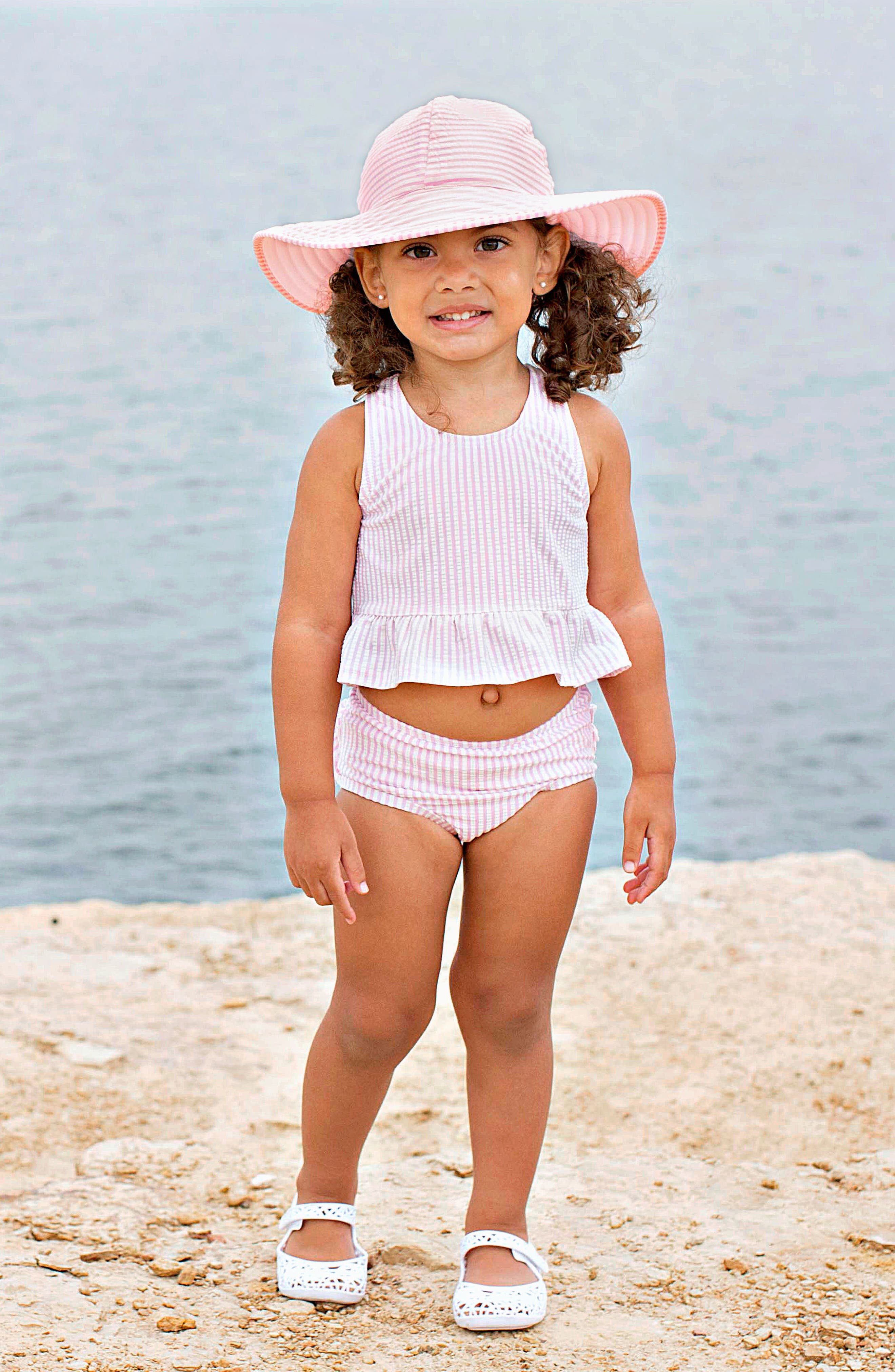 Two-Piece Swimsuit & Hat Set,                             Alternate thumbnail 3, color,                             PINK