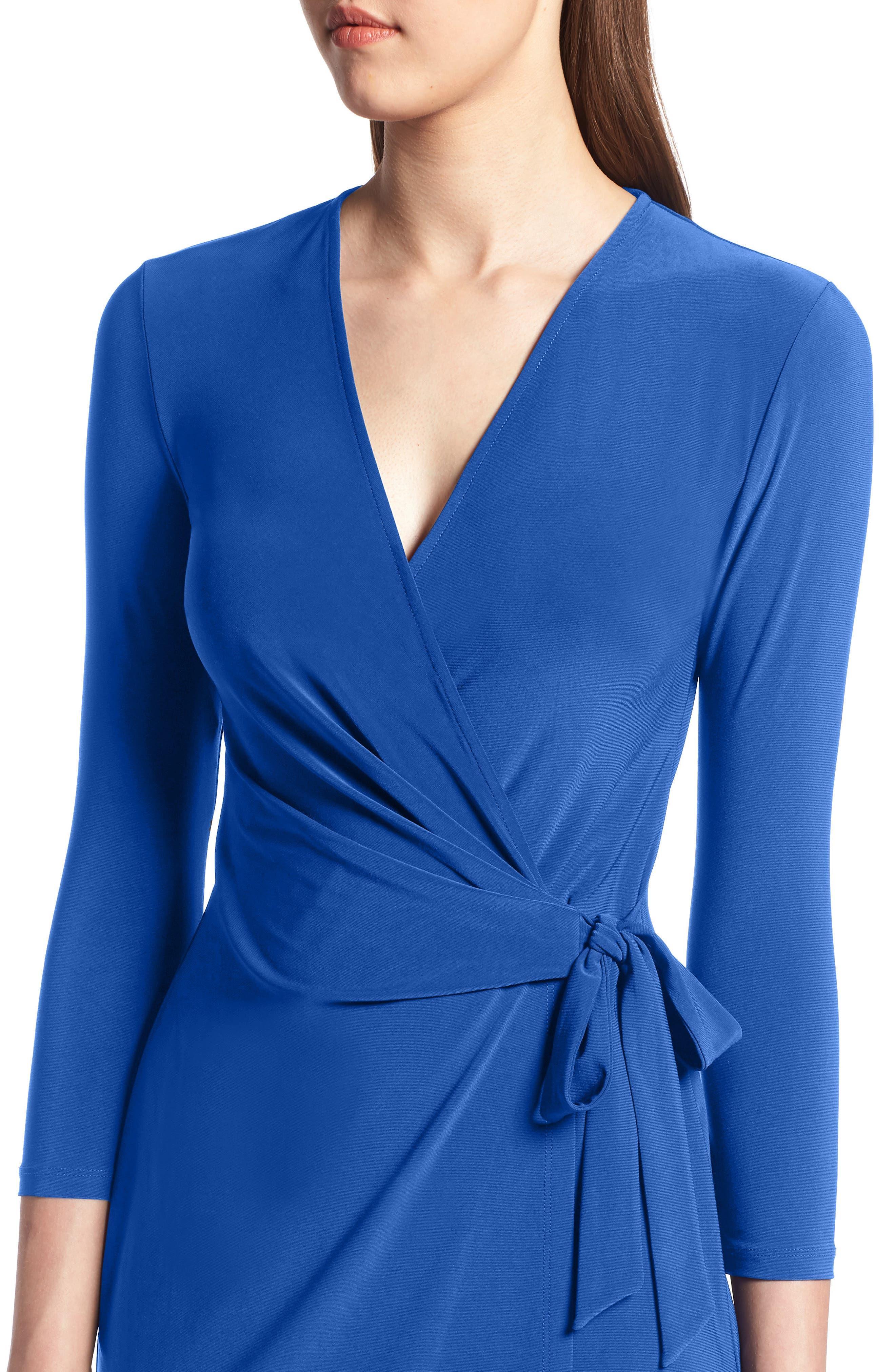 Faux Wrap Dress,                             Alternate thumbnail 4, color,                             CEZANNE BLUE