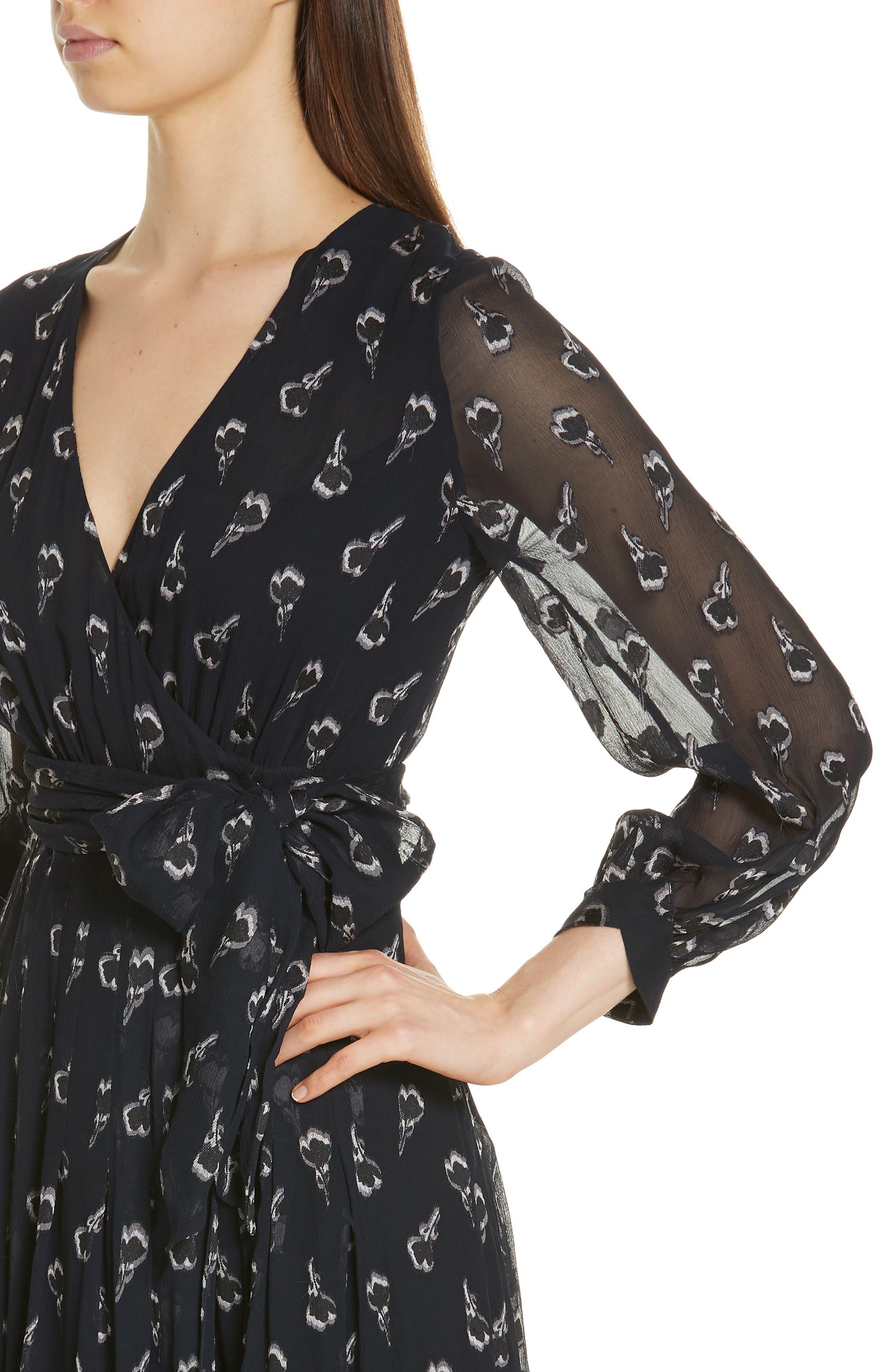 Memory Floral Silk Chiffon Dress,                             Alternate thumbnail 4, color,                             NOIR